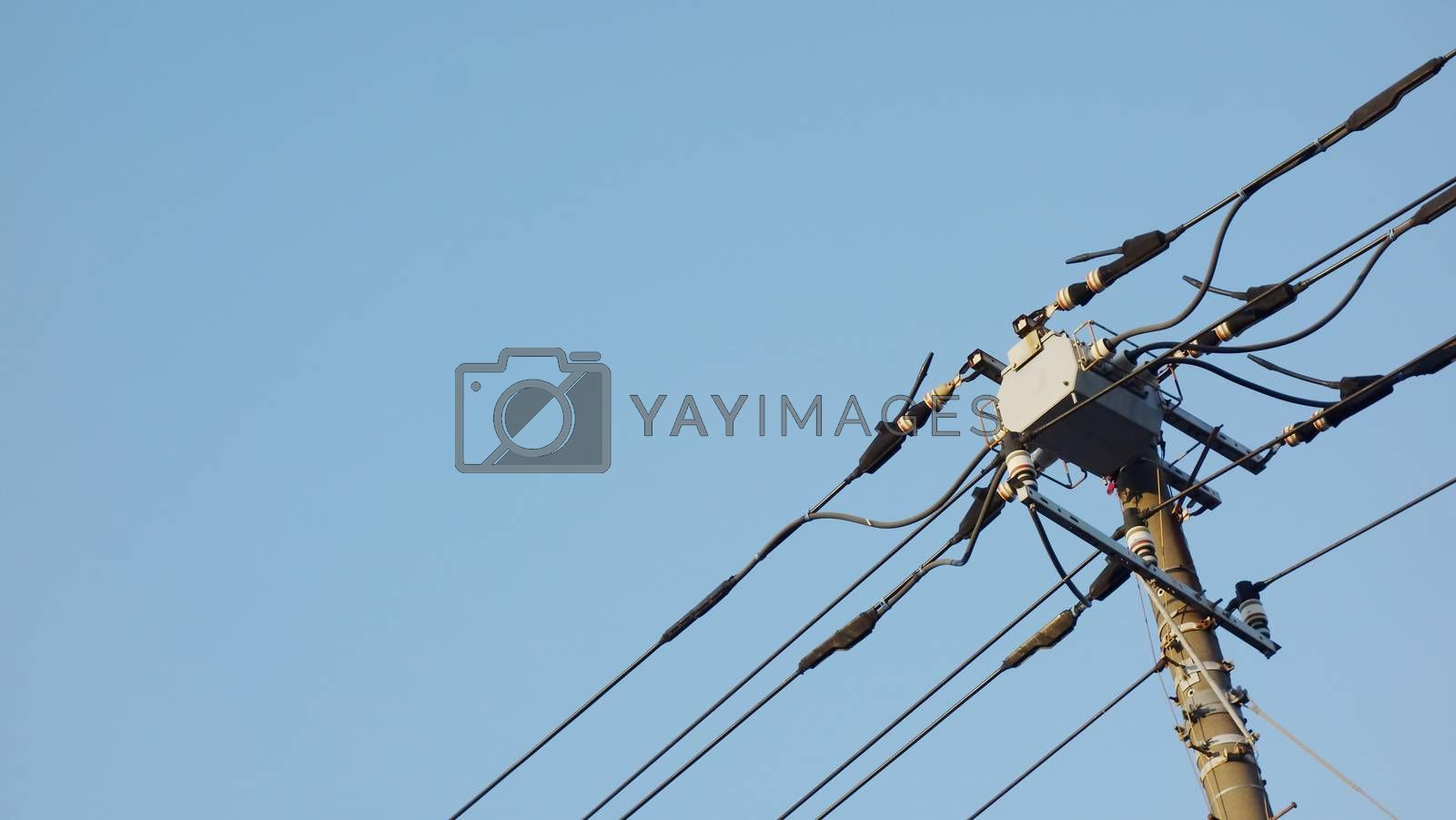 electric pole in Japan with blue sky background. Electricity Power Supply  transfer energy electrical tecnology on cable wire.