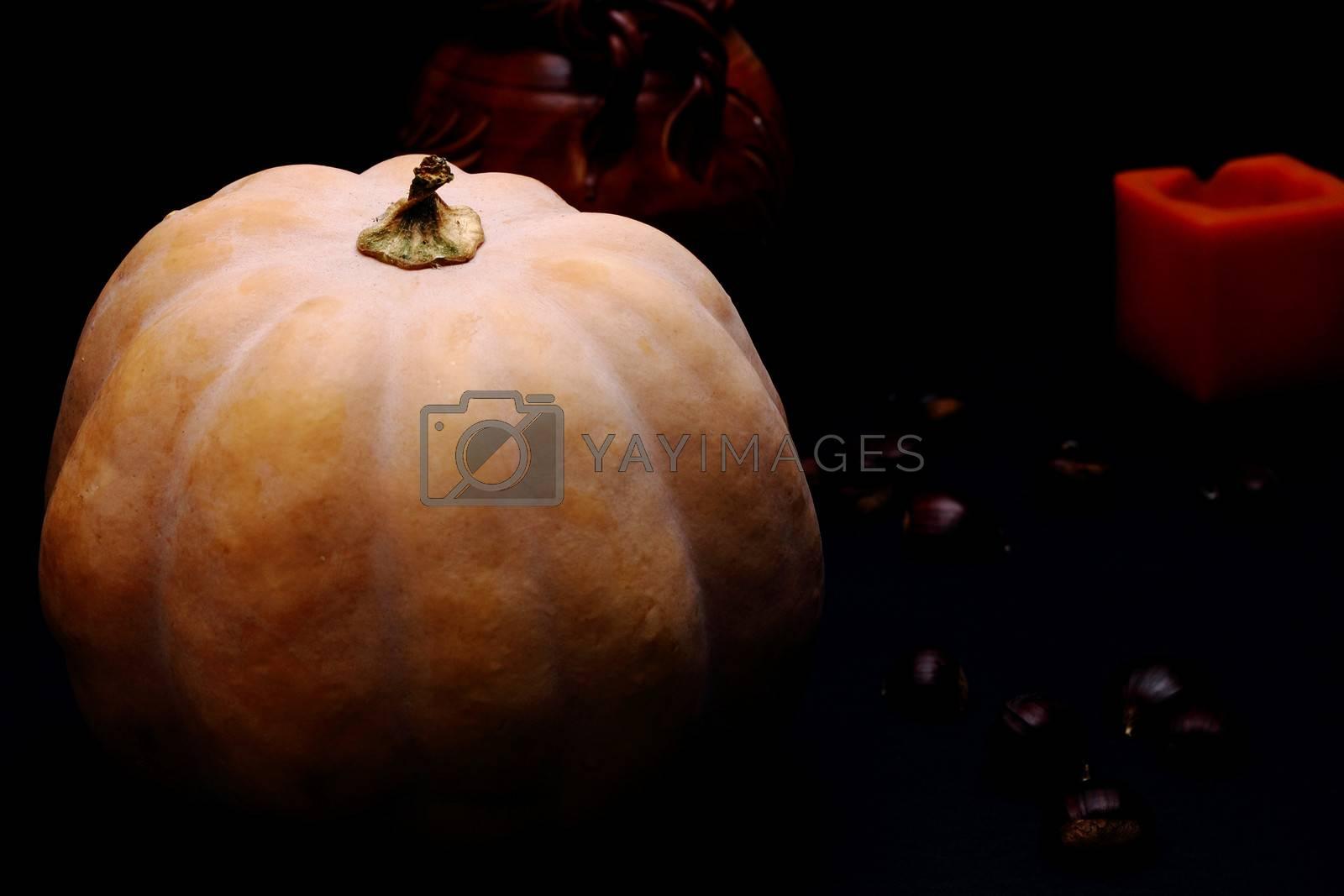 Pumpkin. Chestnuts and candle in background. Dark background