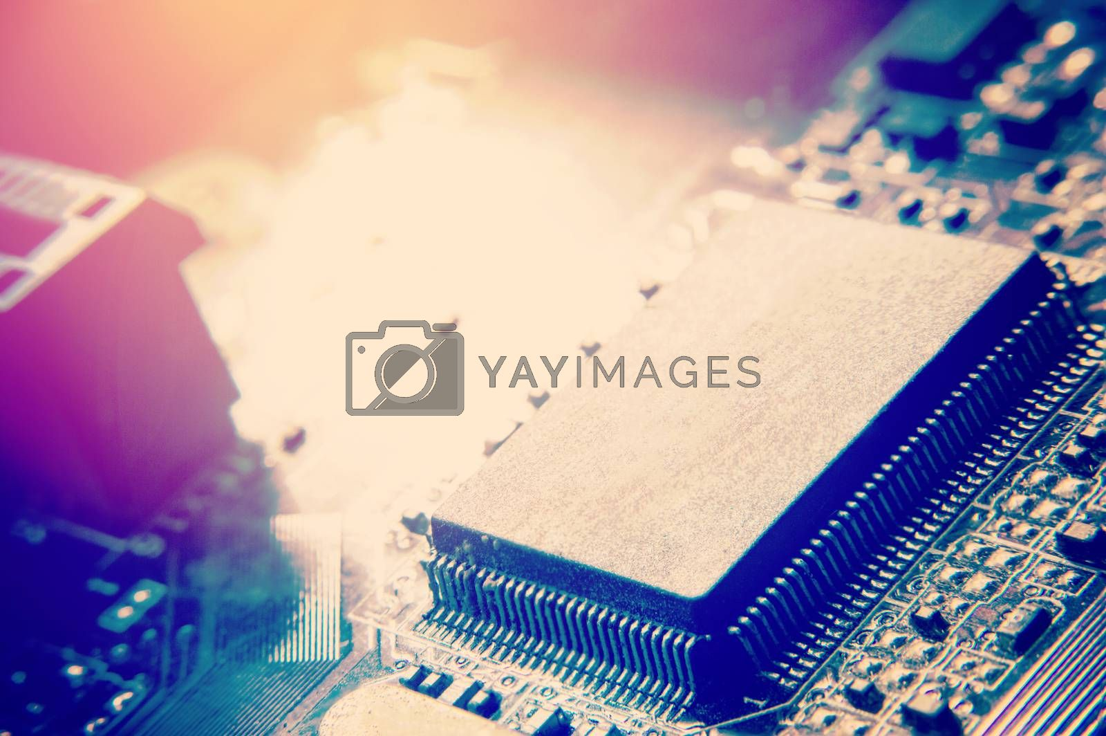 closeup of electronic circuit board with processor  by Nu1983