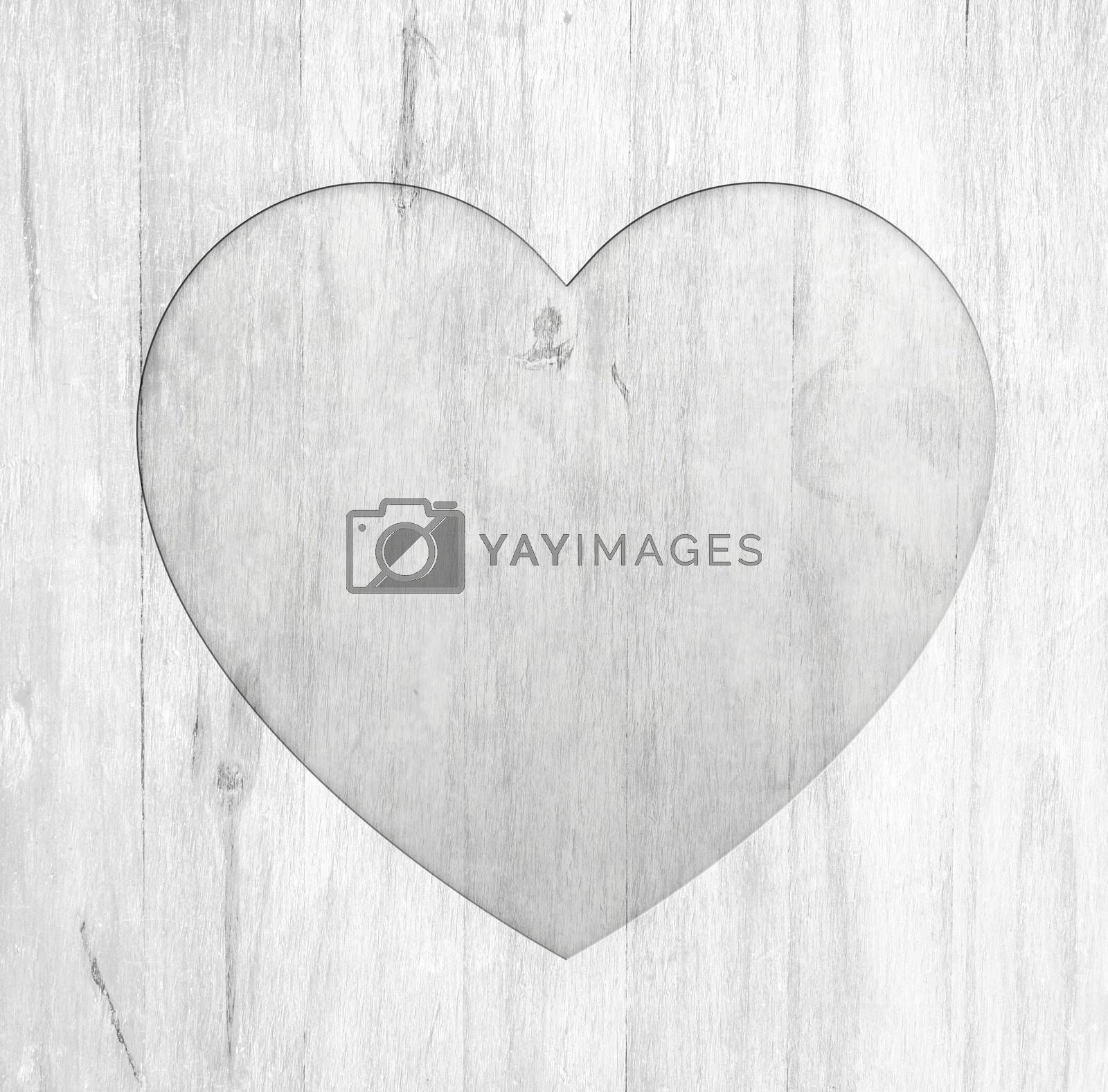 heart embossing on white wooden frame with copy space for your valentine's day wording concept