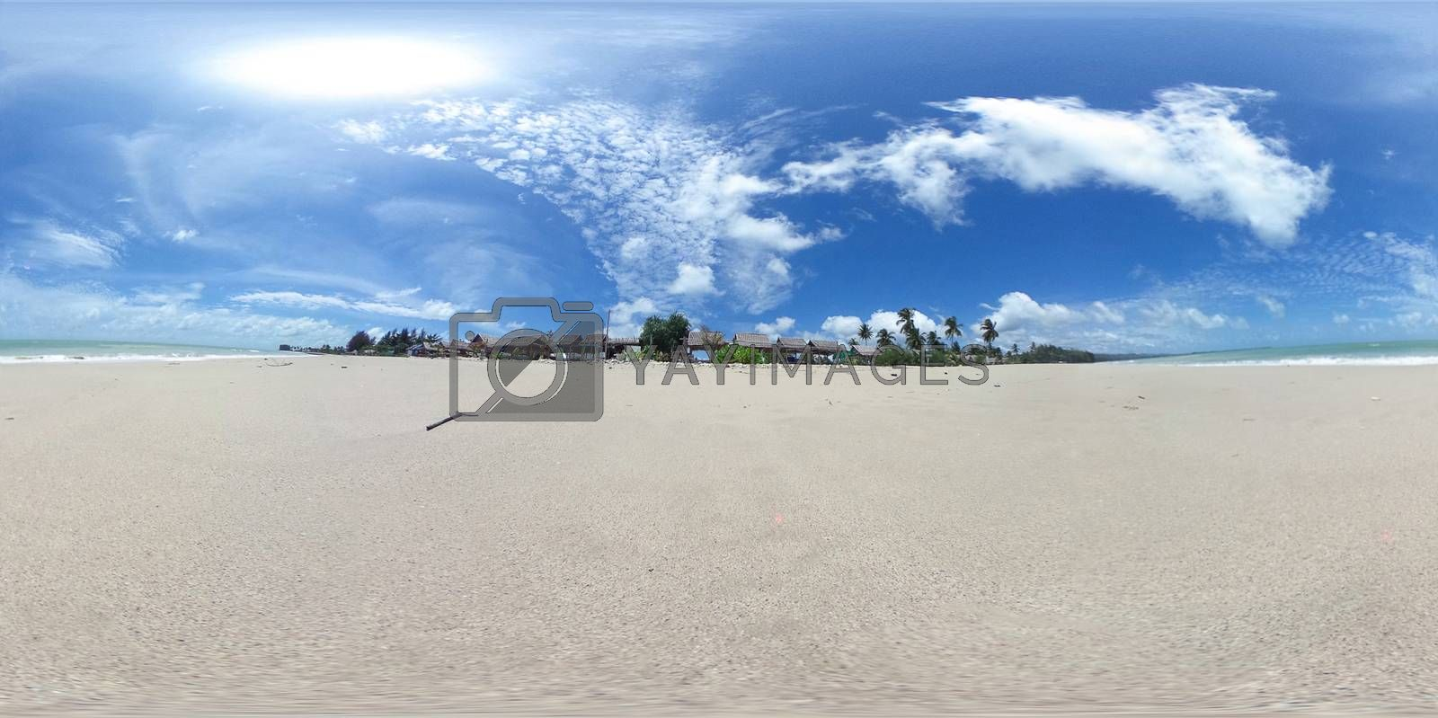 360 degree spherical panorama  Bangsak beach khao lak Phangnga province, Thailand.