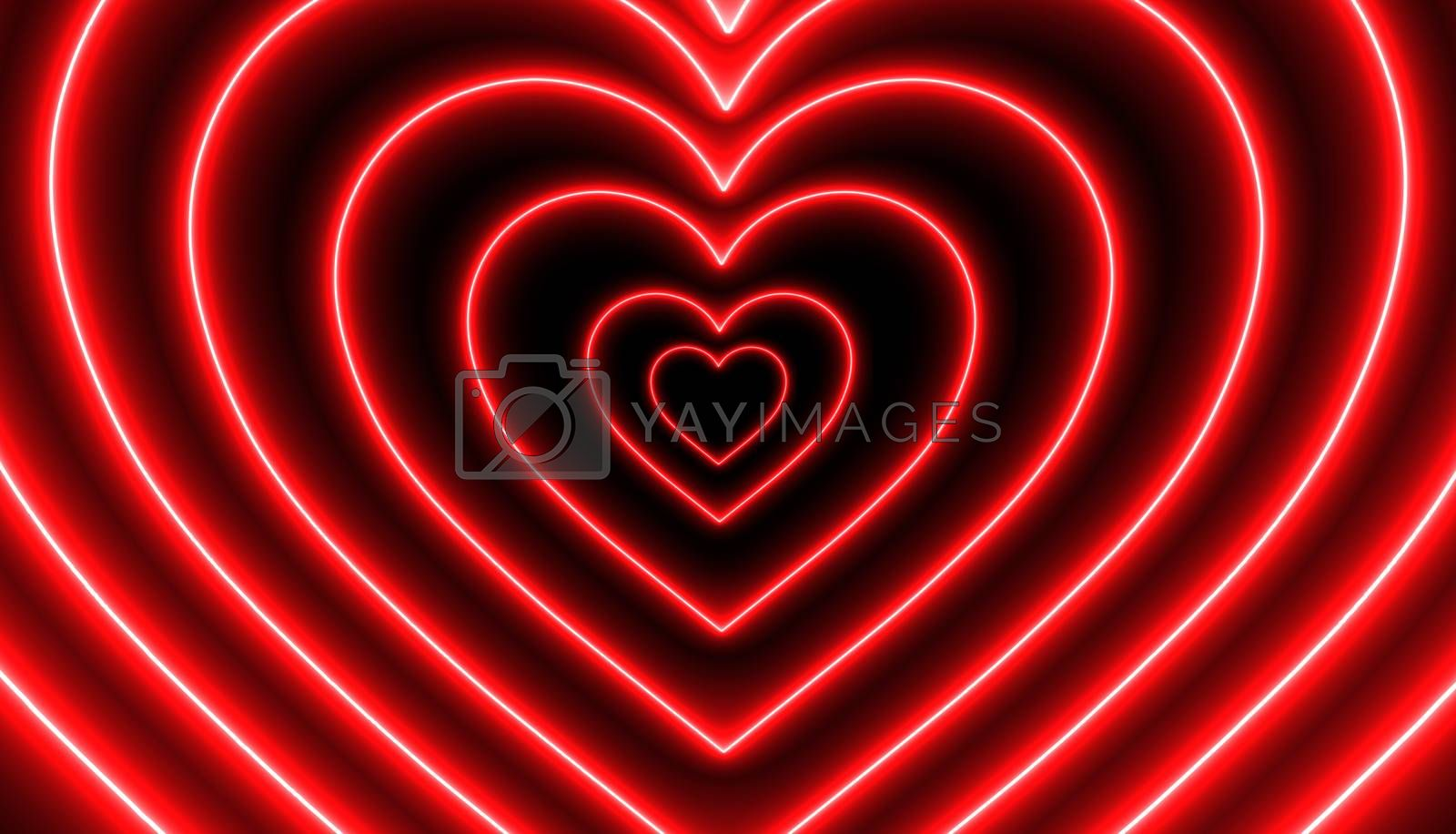 Red neon heart shape 3D Rendering  in Perspective Tunnel background