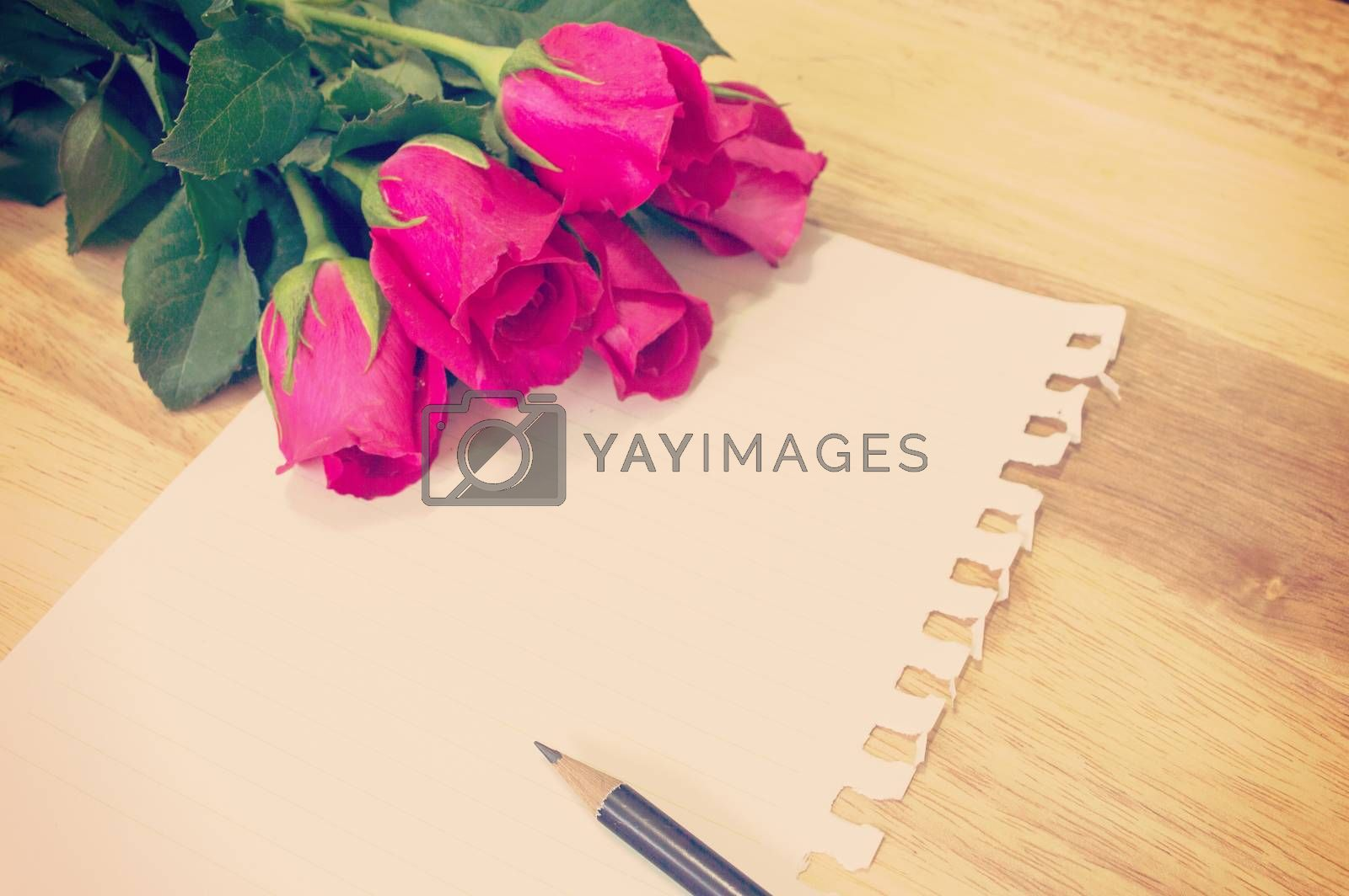 Vintage,retro of note book paper and pencil with rose by Nu1983