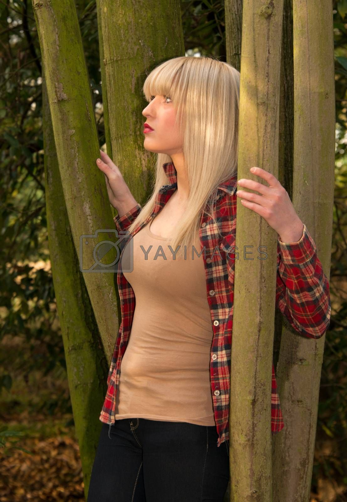 Blonde Woman in the Trees
