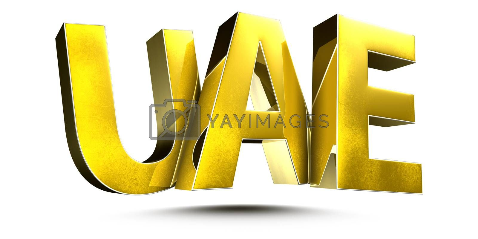 3D illustration UAE Gold isolated on a white background.(with Clipping Path)