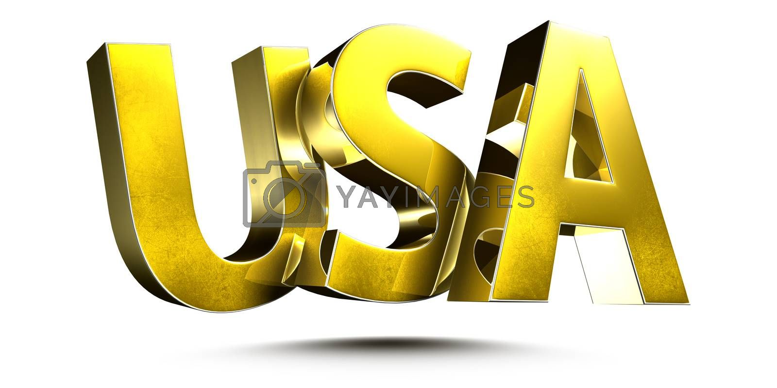 3D illustration USA Gold isolated on a white background.(with Clipping Path)