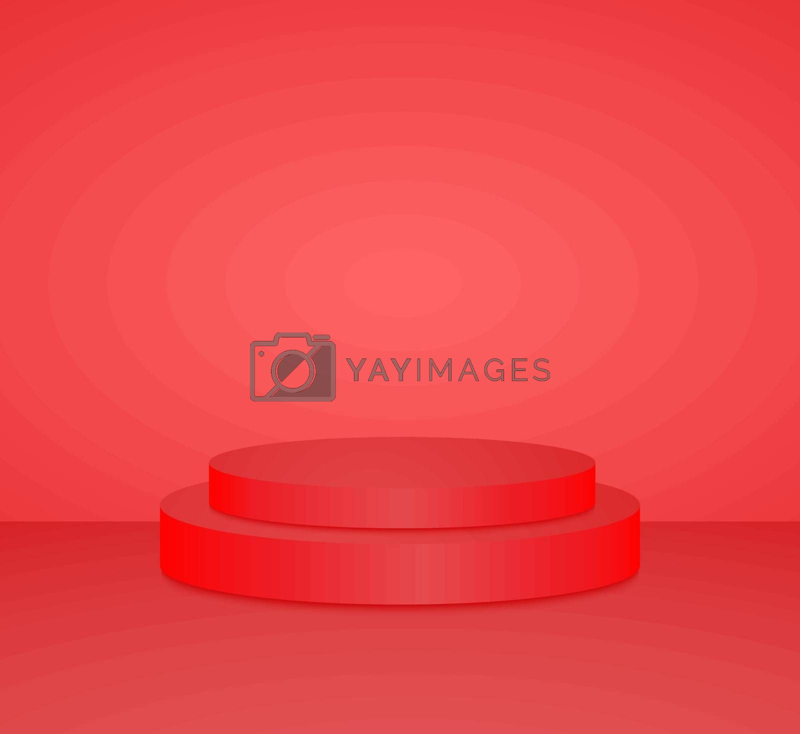 3d red cylinder podium minimal studio background. Abstract 3d geometric shape object illustration render Display
