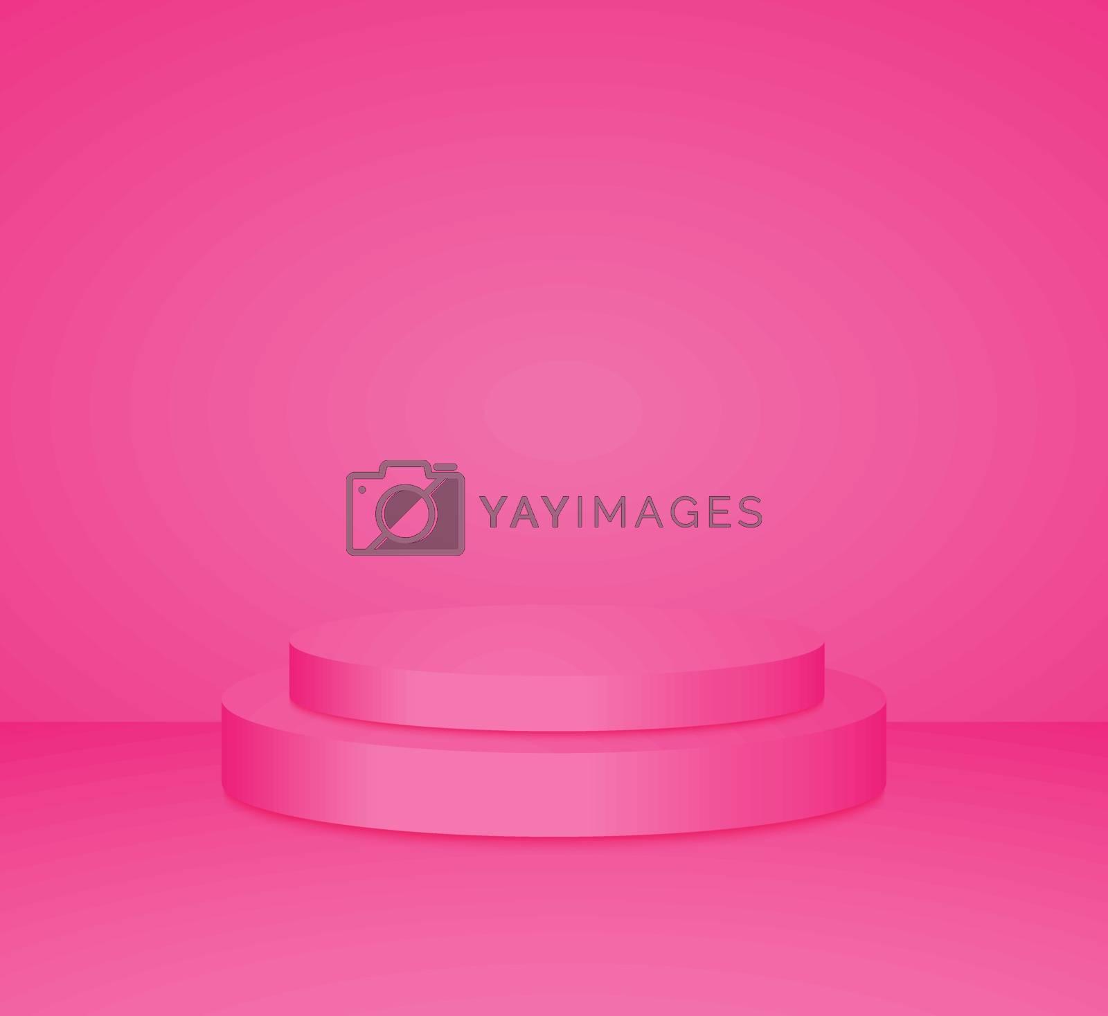3d pink cylinder podium minimal studio background. Abstract 3d geometric shape object illustration render Display