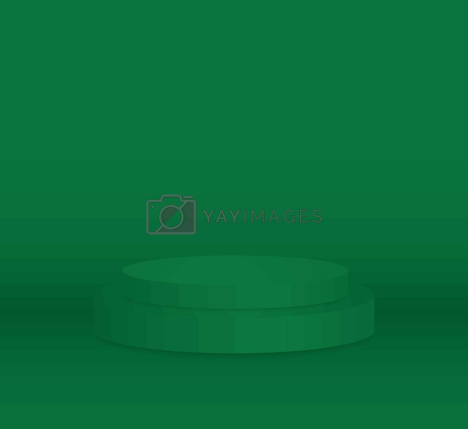 3d green cylinder podium minimal studio background. Abstract 3d geometric shape object illustration render Display