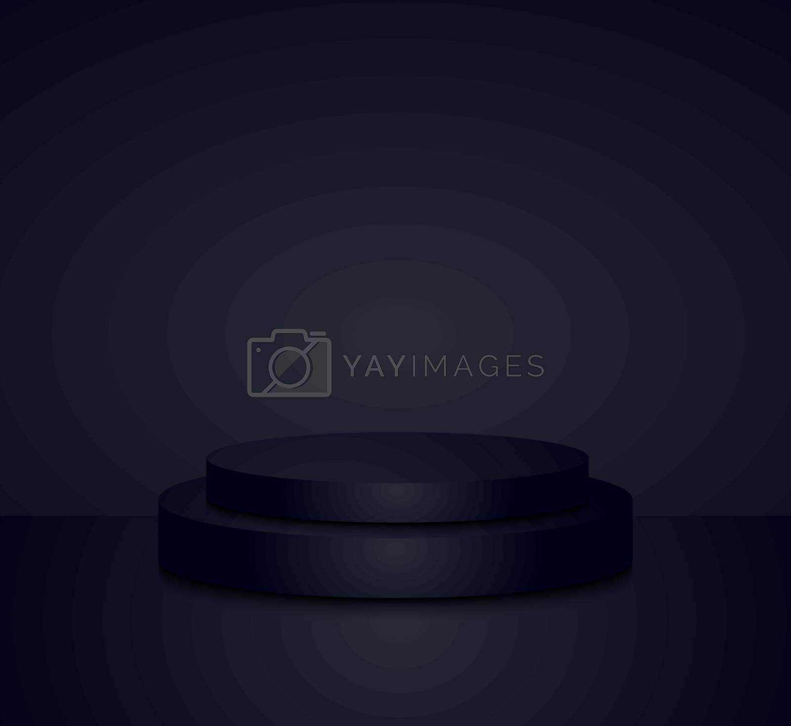 3d black cylinder podium minimal studio background. Abstract 3d geometric shape object illustration render Display
