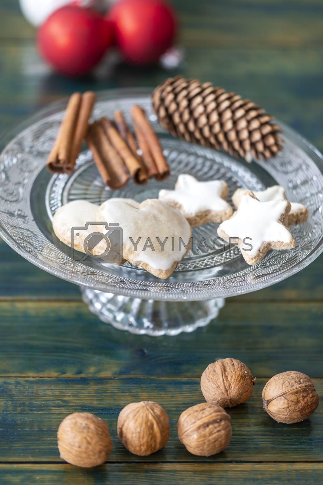 christmas cookies on green wood