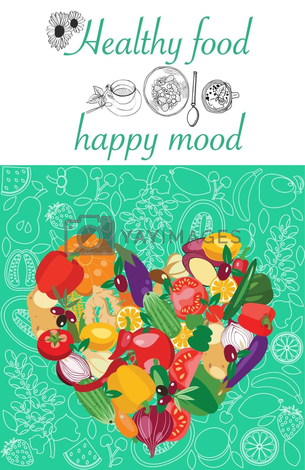 Poster with fresh organic vegetables by Heart shape. by Margolana