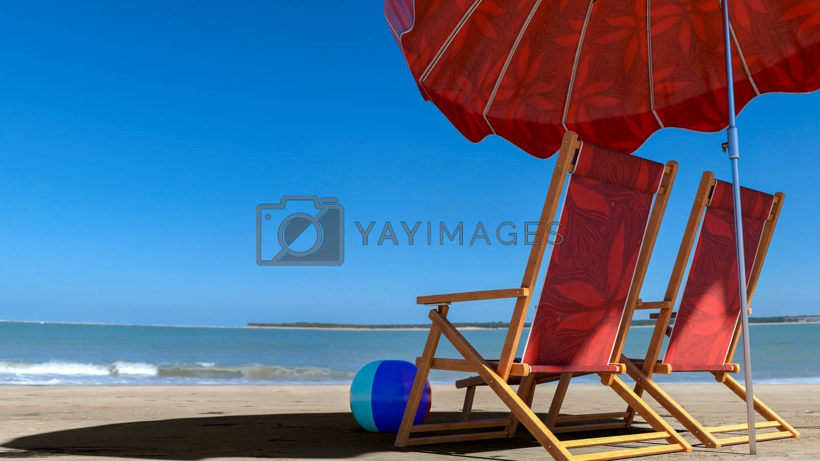 Two empty chairs on beach under opened umbrella with view on sea - 3d rendering
