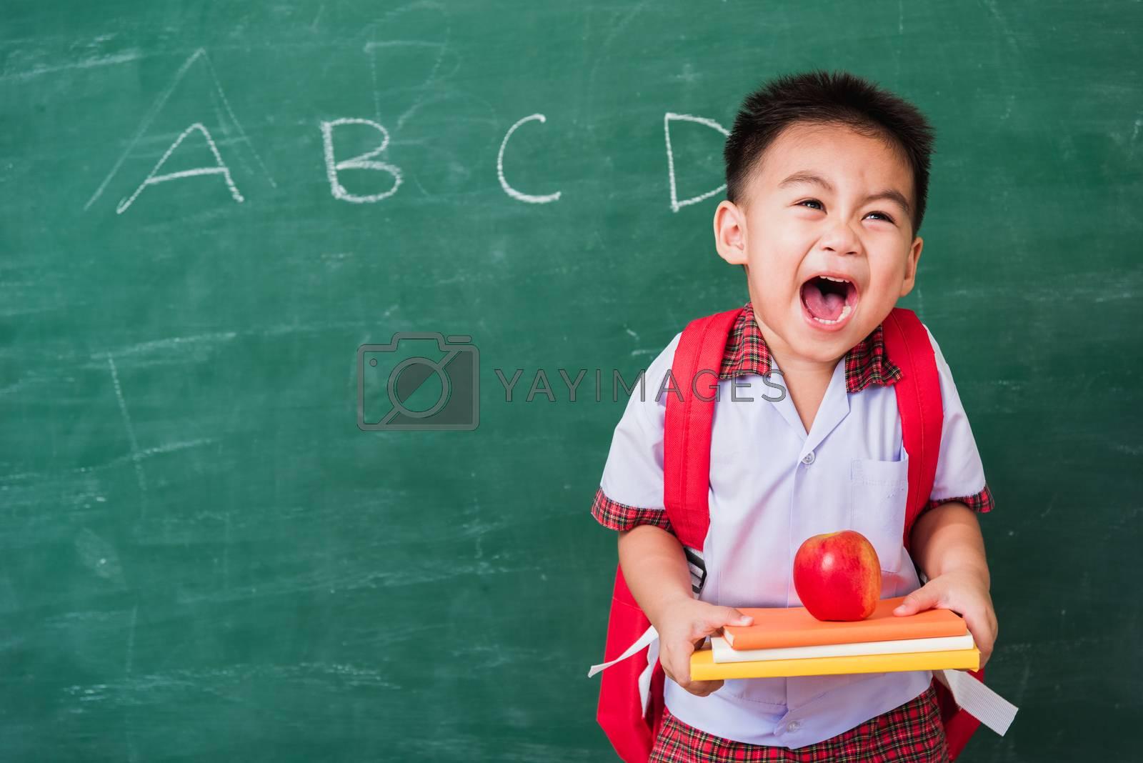 Child boy from kindergarten in student uniform with school bag h by Sorapop