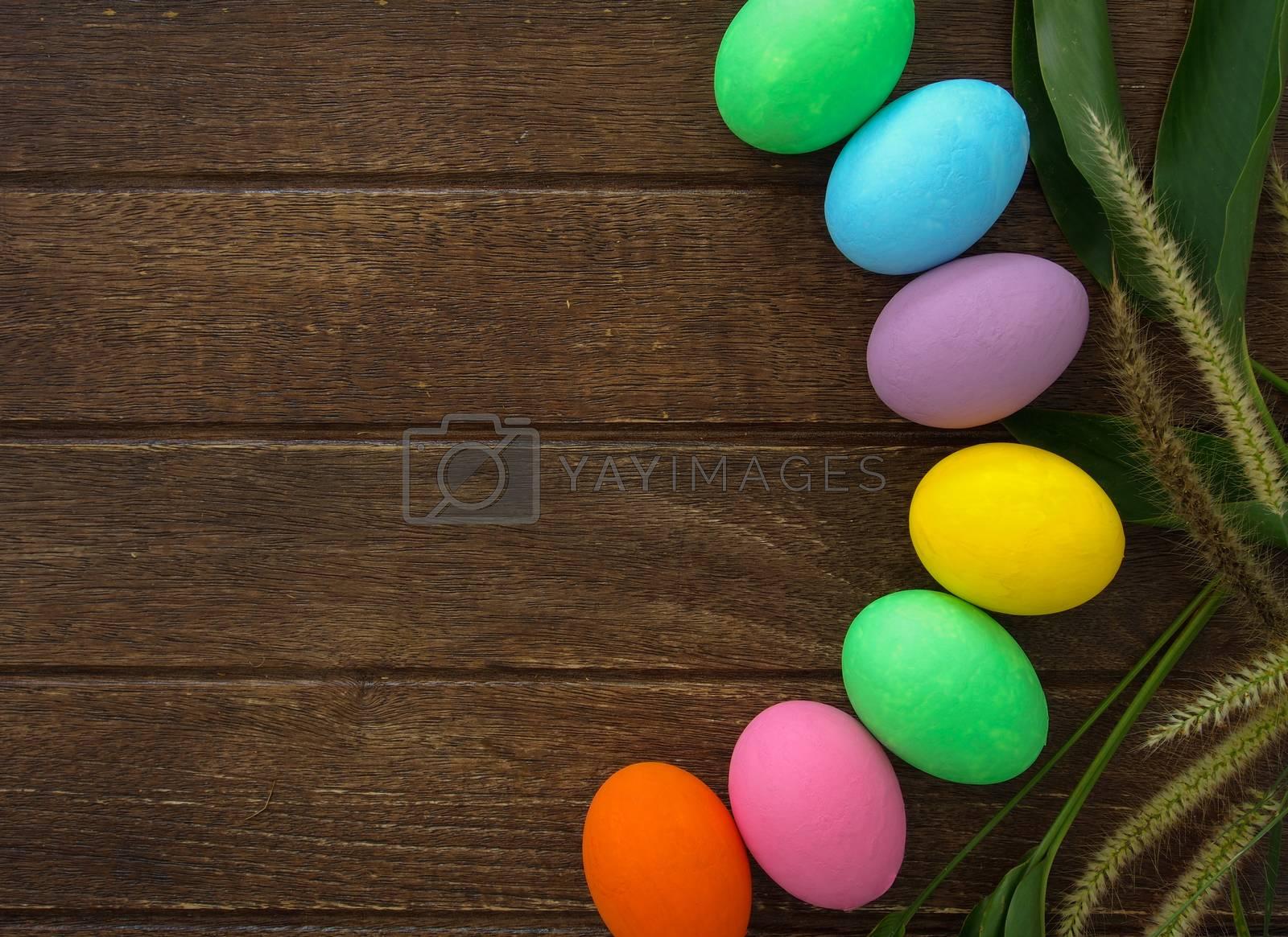 easter egg on wooden background , easter concept