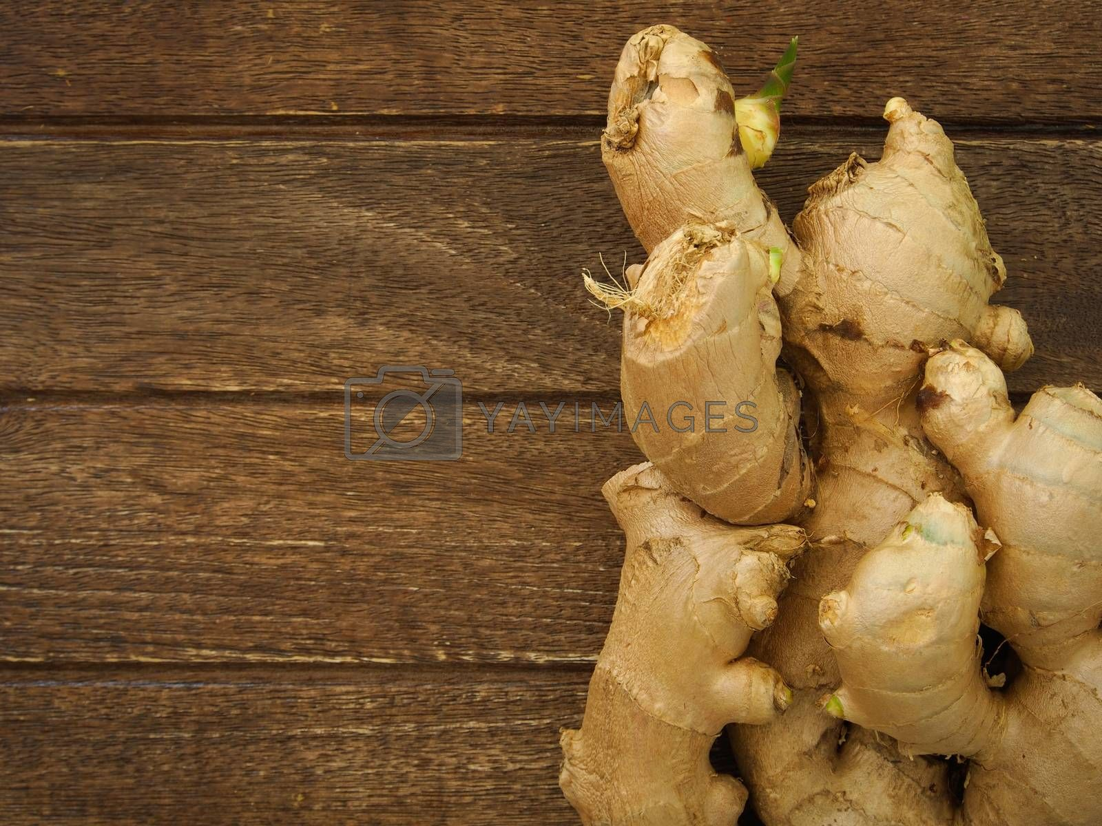 ginger on wooden background