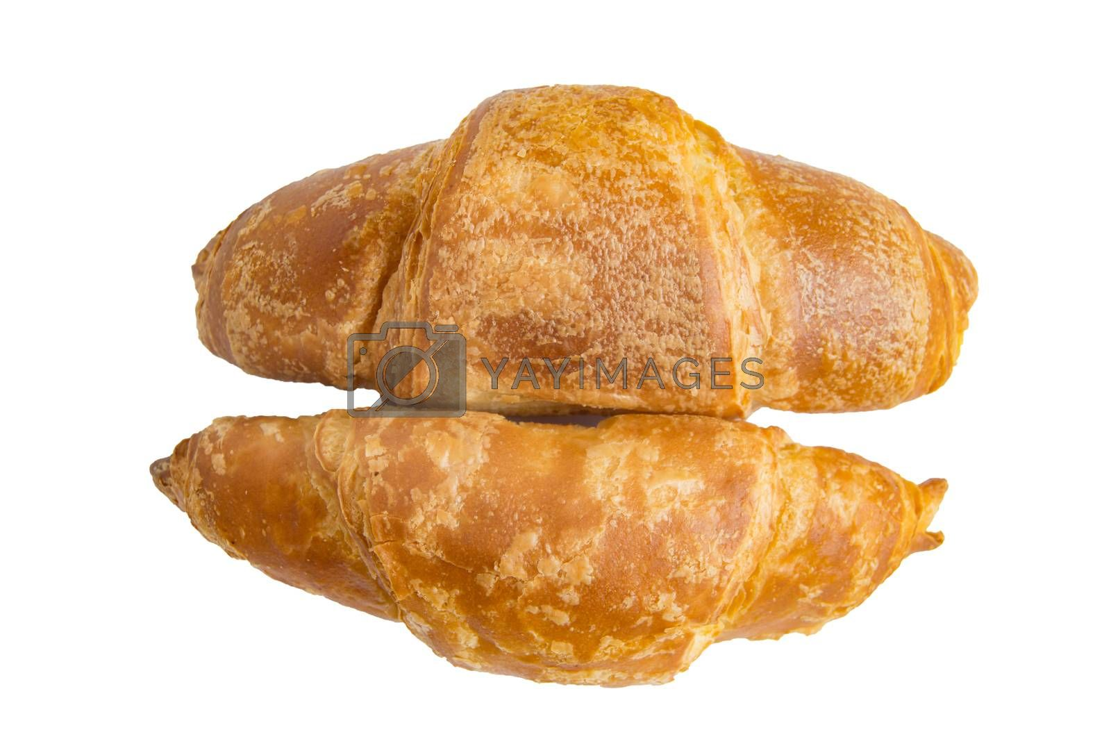 Two delicious croissants isolated on a white background by clipping.