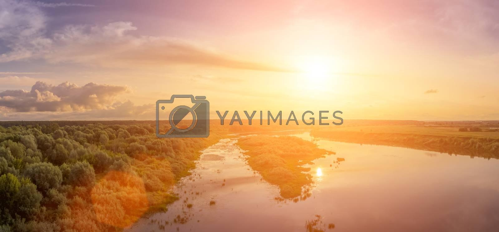 Sunset or sunrise on the river or lake. by Eugene Yemelyanov