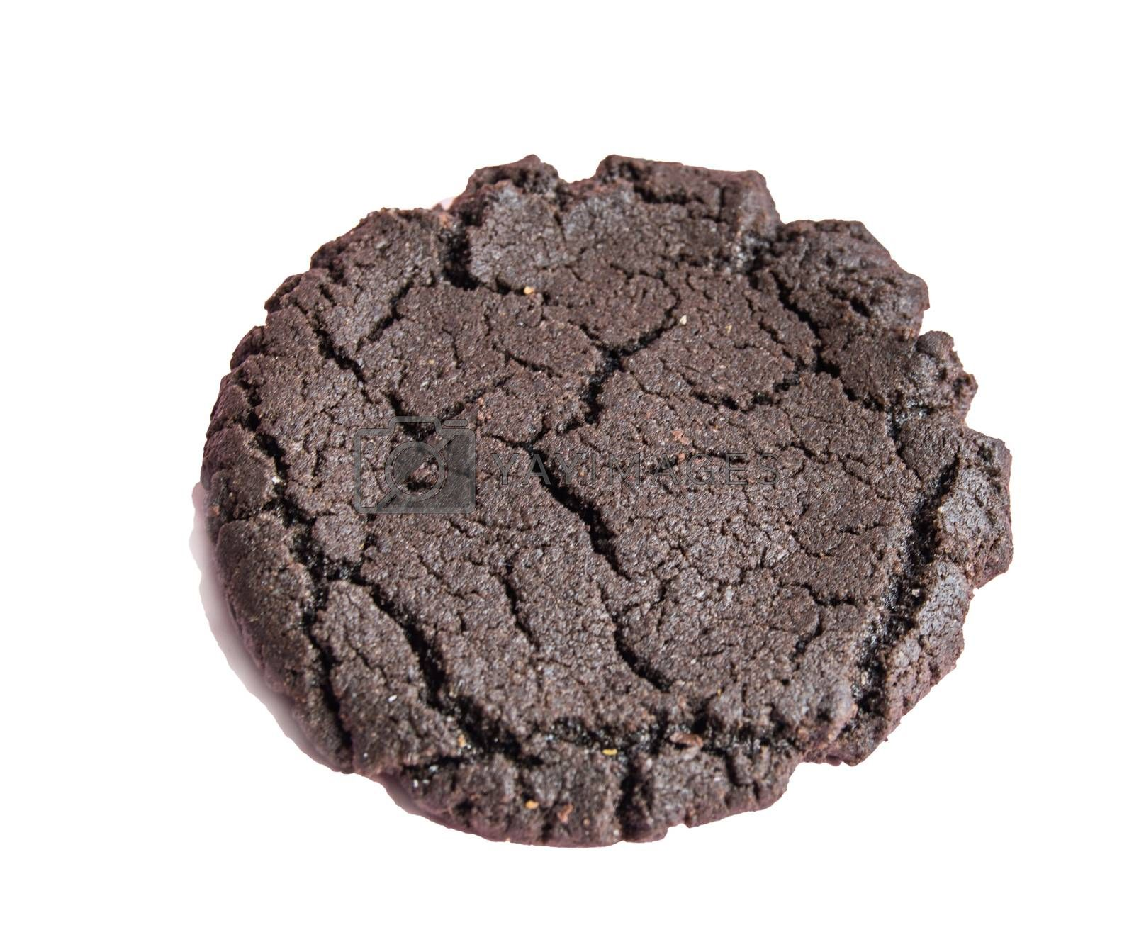 One chocolate cookie isolated on a white background, top view.