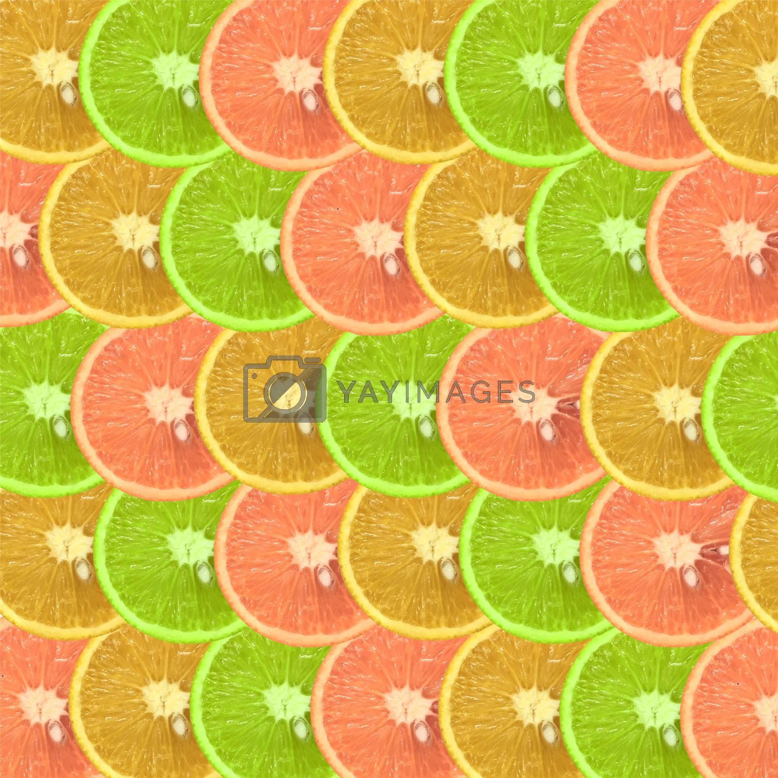Fruit pattern of fresh orange slices.  by Margolana
