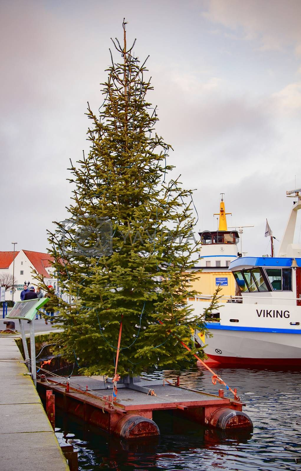 FLENSBURG, GERMANY. JANUARY 26, 2020. Yachts at the pier Christmas tree on the embankment