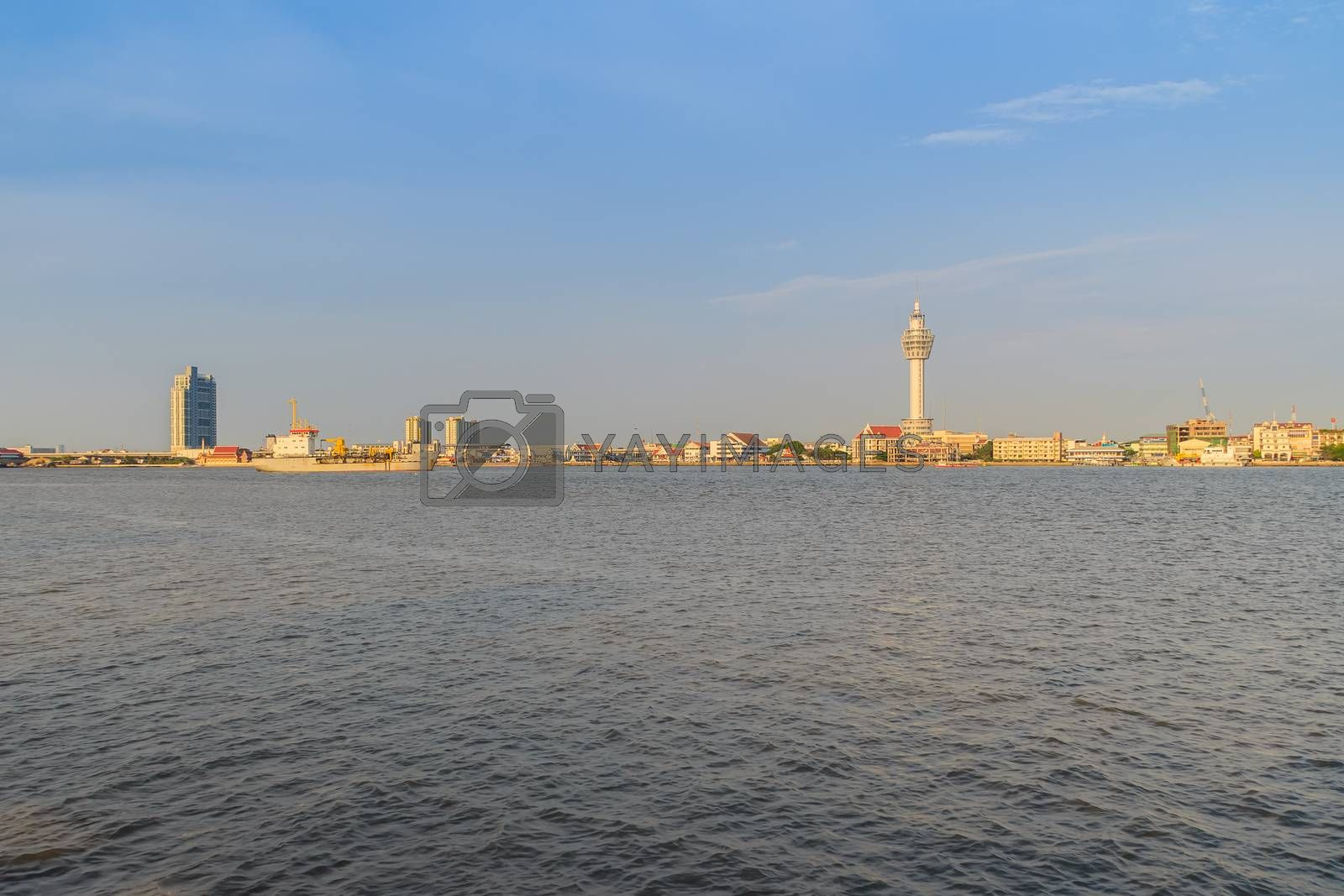 Riverfront view of Samut Prakan city hall with new observation tower and boat pier. Samut Prakan is at the mouth of the Chao Phraya River on Gulf of Thailand.