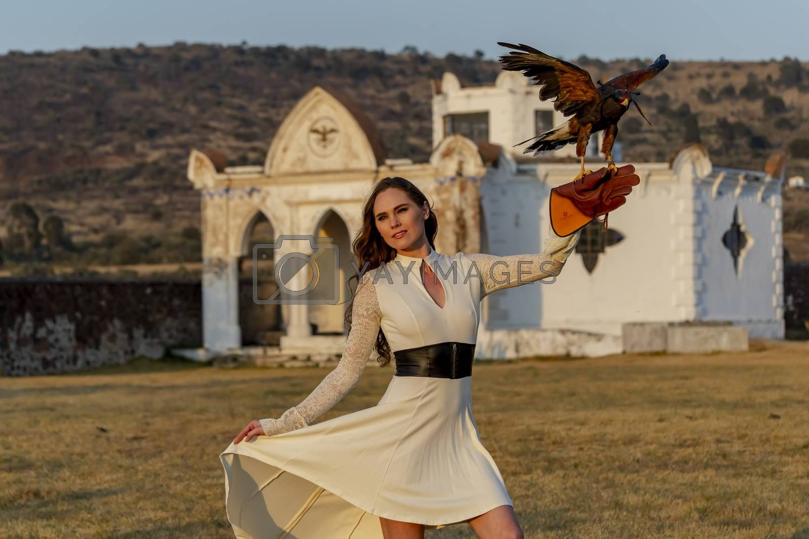 A Lovely Hispanic Brunette Model Poses Outdoors With A Falcon At A Hacienda by actionsports