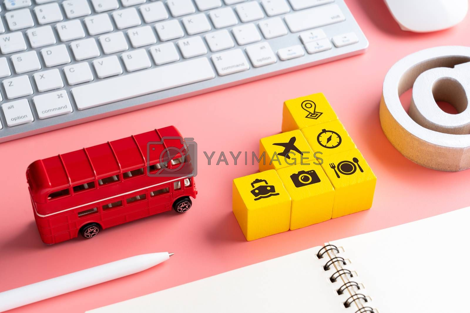 Travel & transport icon on colorful concept background