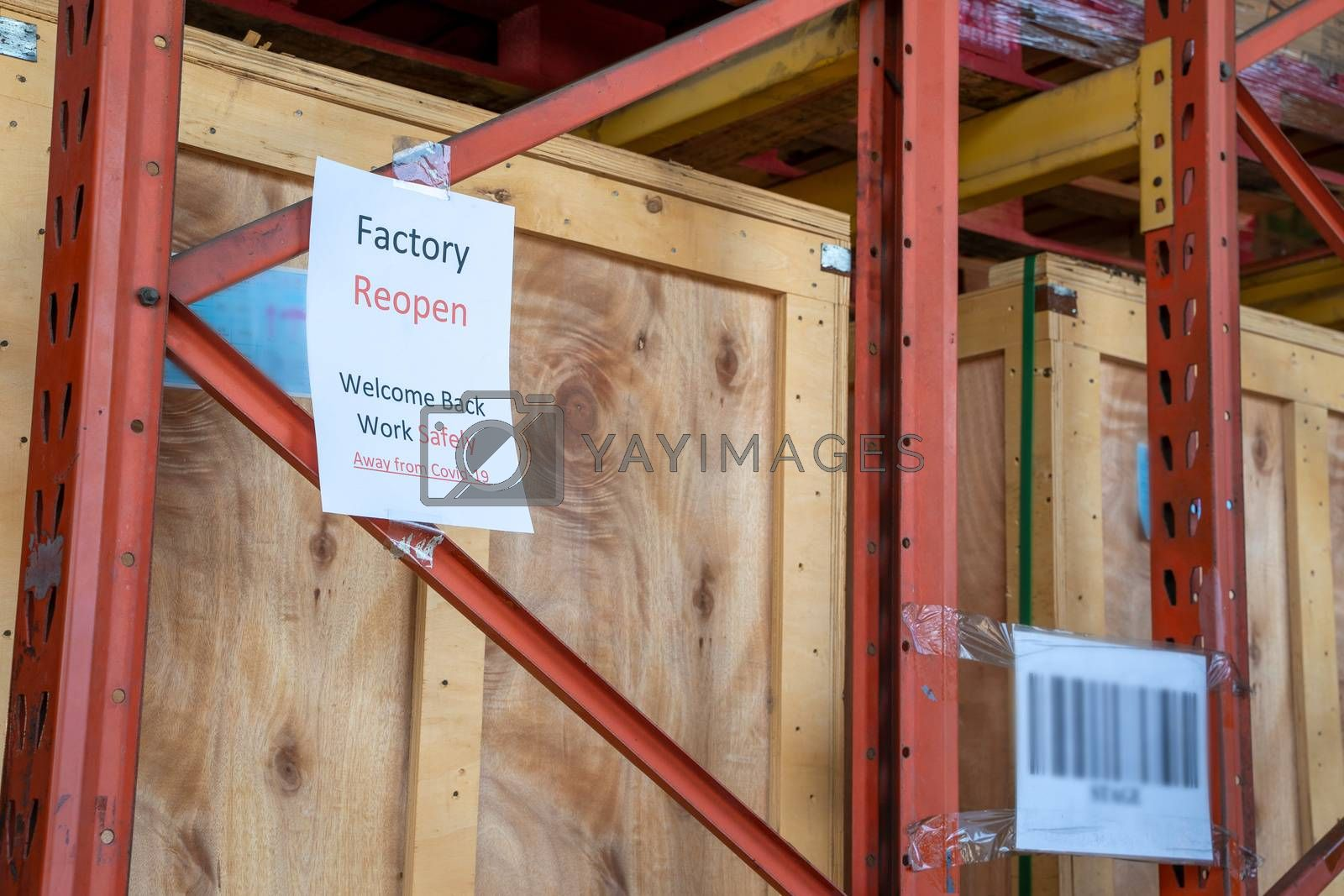 Paper written factory reopen,Welcome back due covid19 pandemic,warehouse reopen after Covid-19 pandemic.
