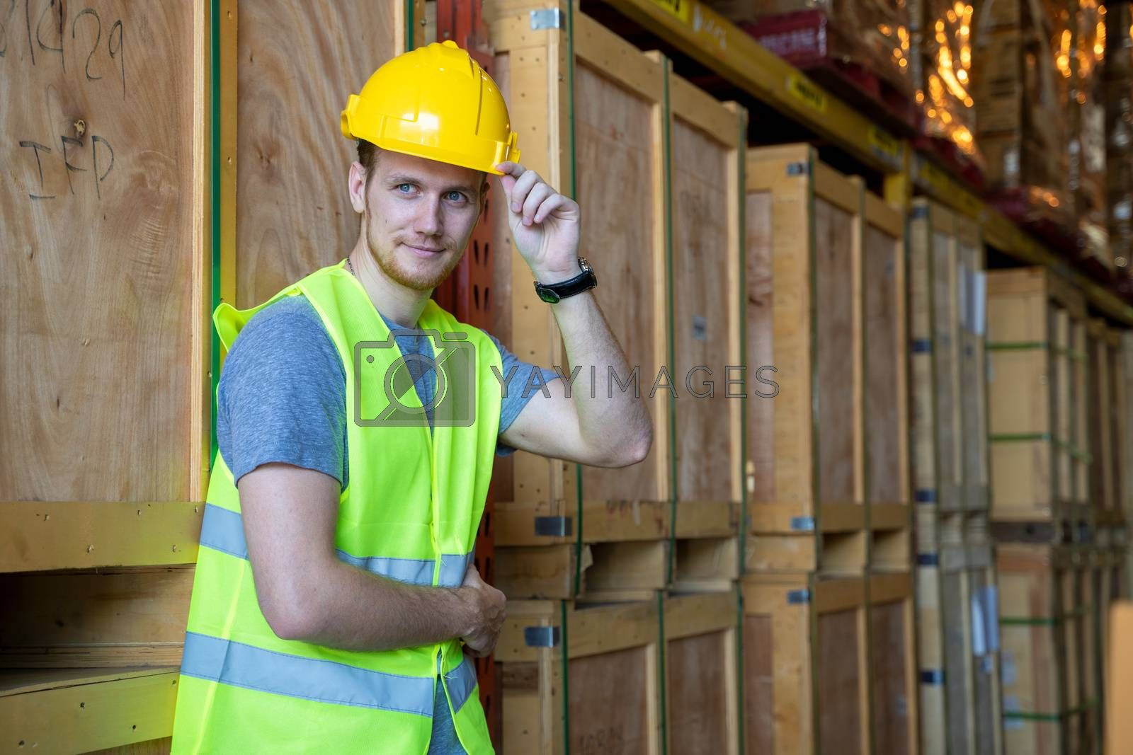 Portrait warehouse workers checking goods at warehouse,Wholesale, Logistic,Business,Export and people concept.