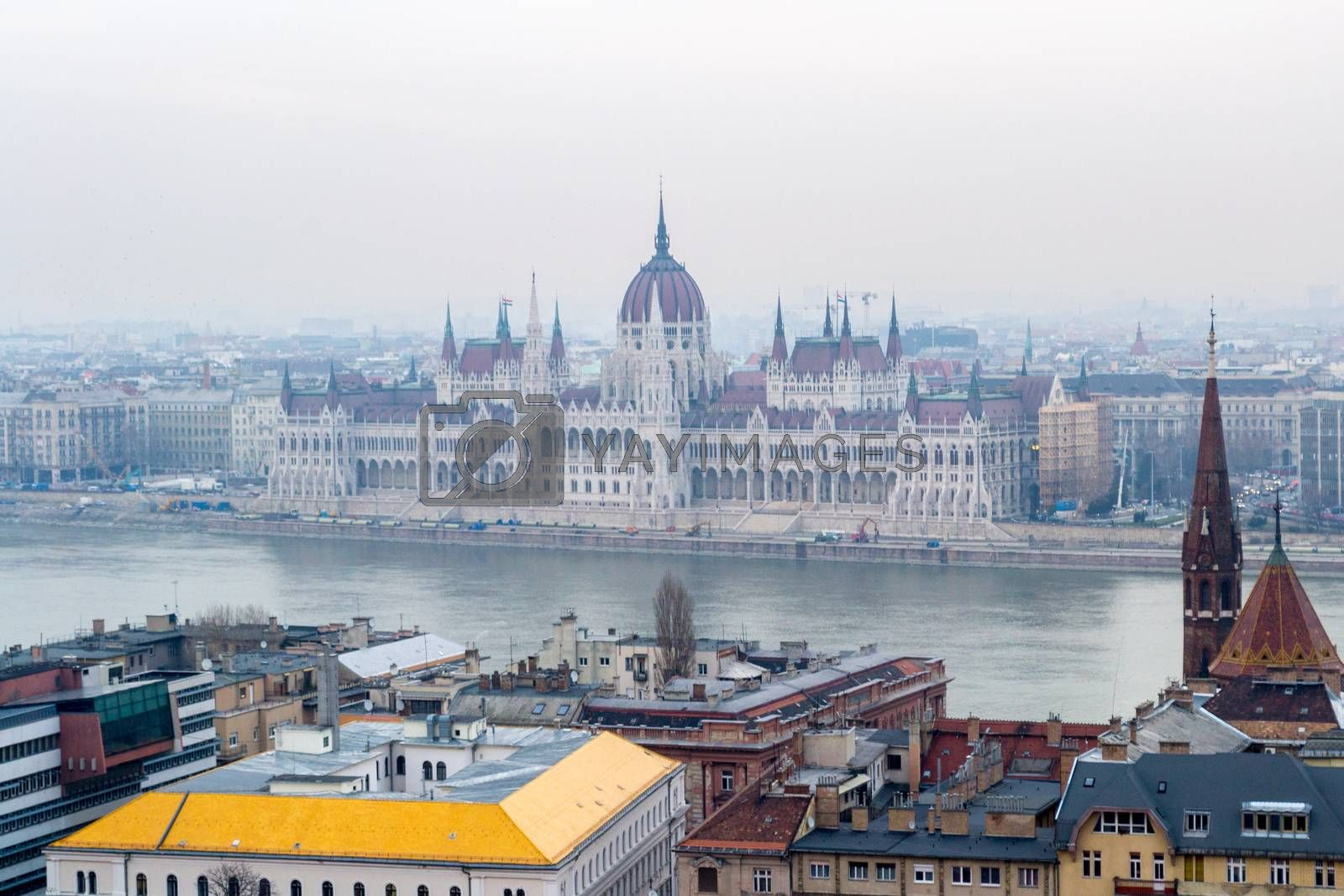 view on the Parliament and Danube River in Budapest by kb79