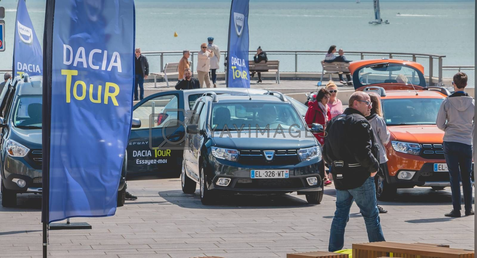 Sables d Olonnes, France - May 07, 2017 : Dacia Tour 2017 is a commercial operation organized by the car builder in order to present its cars throughout France - General plan of the event