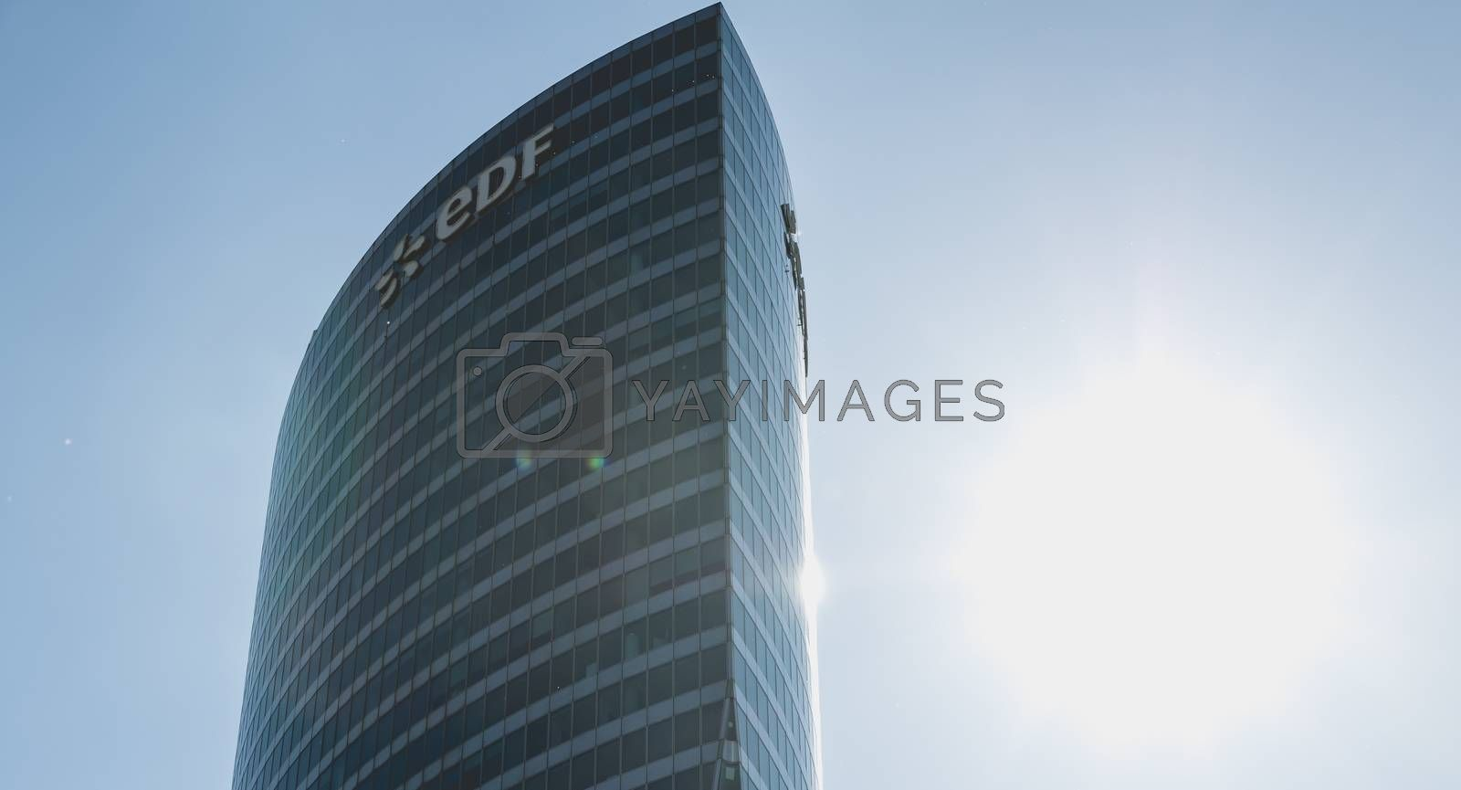 """Nanterre, FRANCE, May 09, 2017 - Close-up on the skyscraper """"EDF"""", an office building located in the heart of the business district of defense, in Paris, France"""
