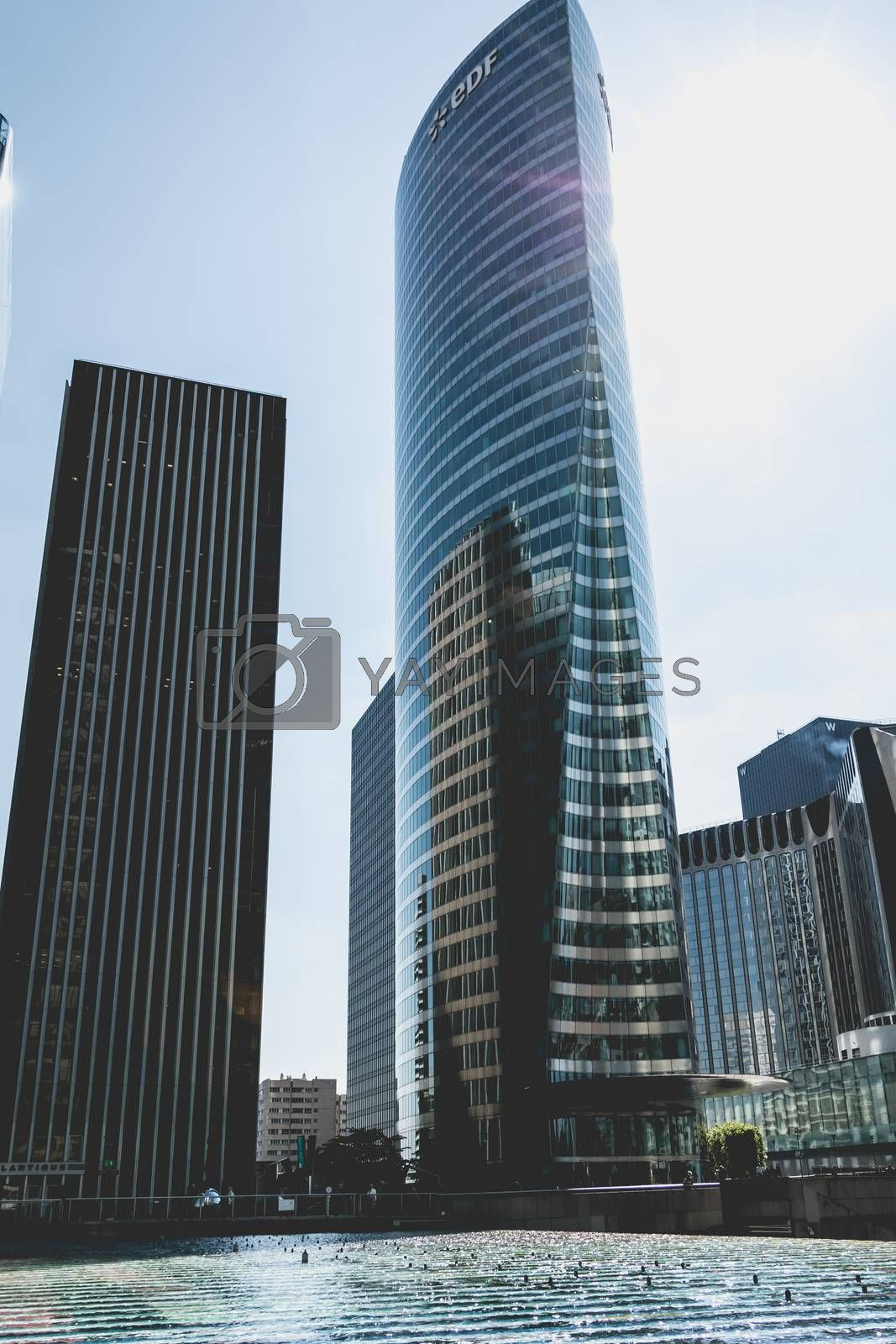Nanterre, FRANCE, May 09, 2017 - An overview of the major buildings of the Defense business district in Paris