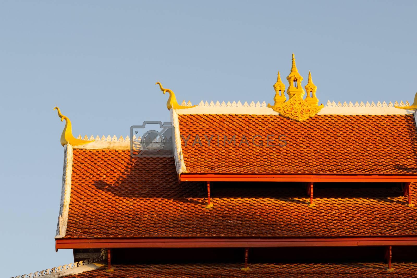 Wat Mai Buddhist temple in Luang Prabang, Laos, at sunset
