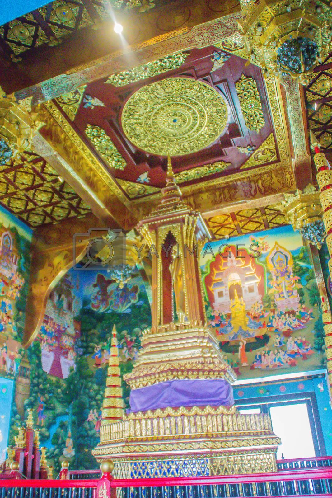 Beautiful interior inside the Chiang Mai City Pillar or Sao Inthakhin located at Wat Chedi Luang in Chiang Mai, Thailand.