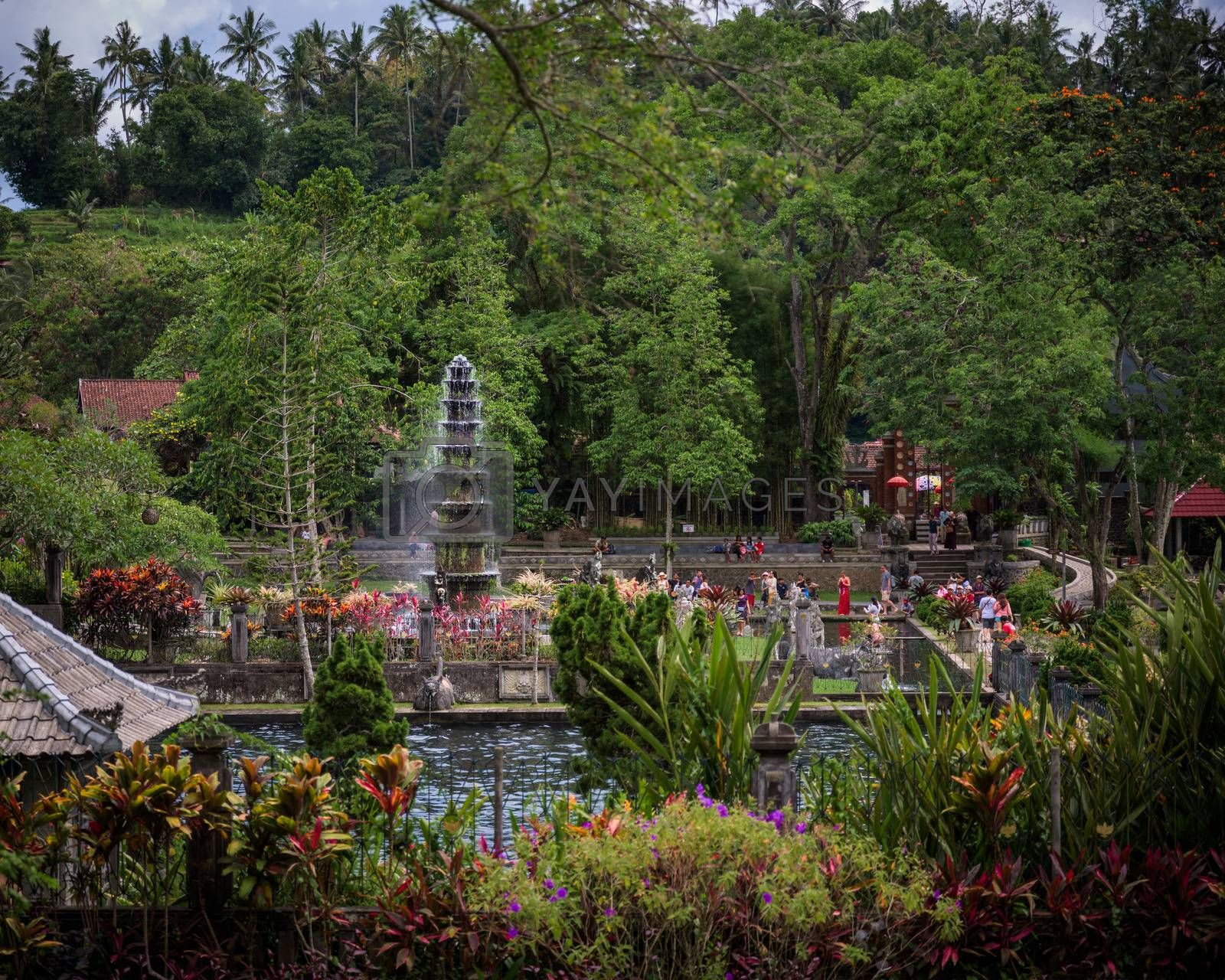 Bali, Indonesia - 25 Nov 2018: The central tiered fountain and the Tirtagangga royal palace gardens are a popular tourist post, Bali, Indonesia.