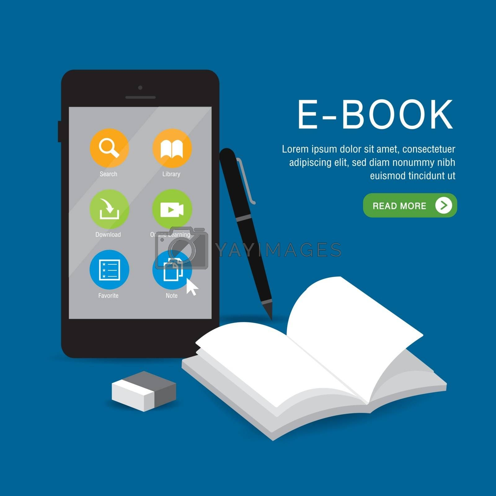 E-book Online Education Application learning on phone, mobile, website. With blank book cover white paper open on background. Vector illustration.