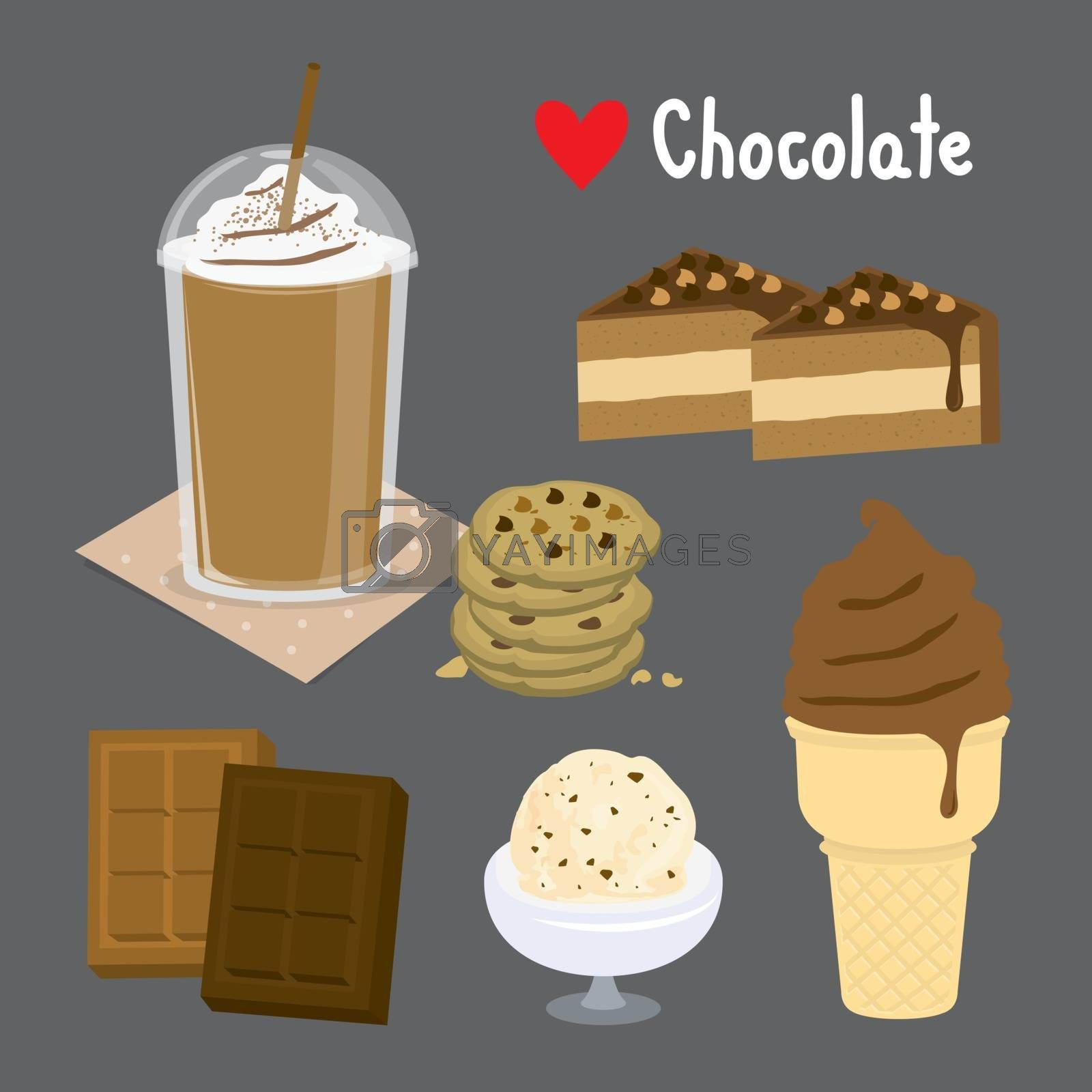 Set of Sweet chocolate and Desserts made of chocolate. ice cream and bakery. Cartoon Vector illustration
