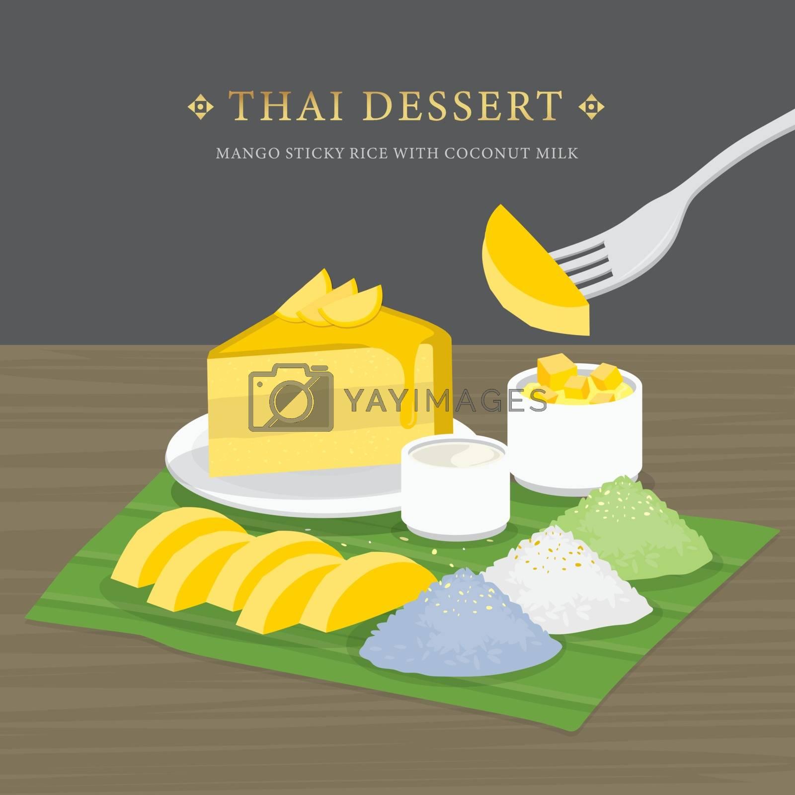 Thai Dessert, Mango and sticky rice with coconut milk and mango sauce. Cartoon Vector illustration