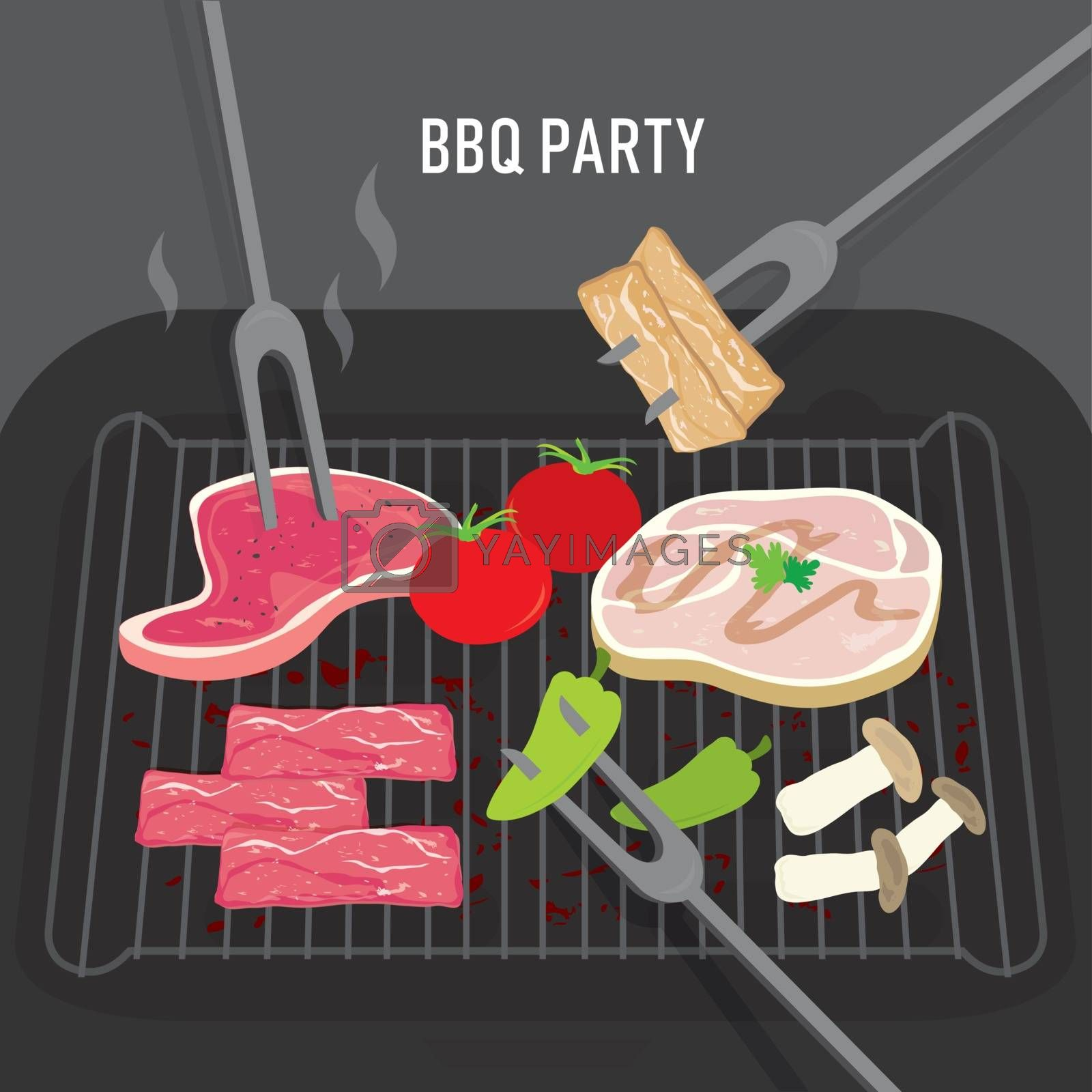 Set of Barbeque BBQ Grill food for party, beef, pork, meat and vegetables. Cartoon Vector illustration