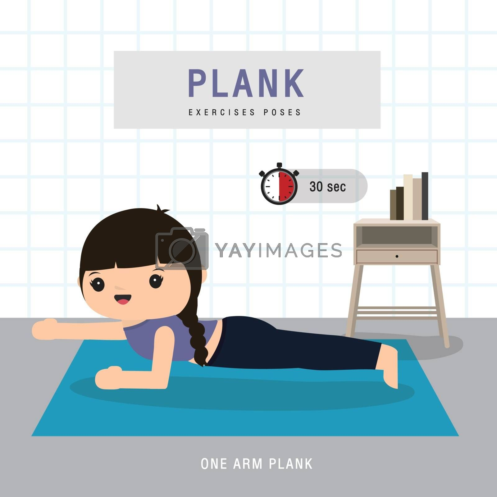 Plank Workout. Woman doing Planking exercise and yoga training at gym home, stay at home concept. Character Cartoon Vector illustration