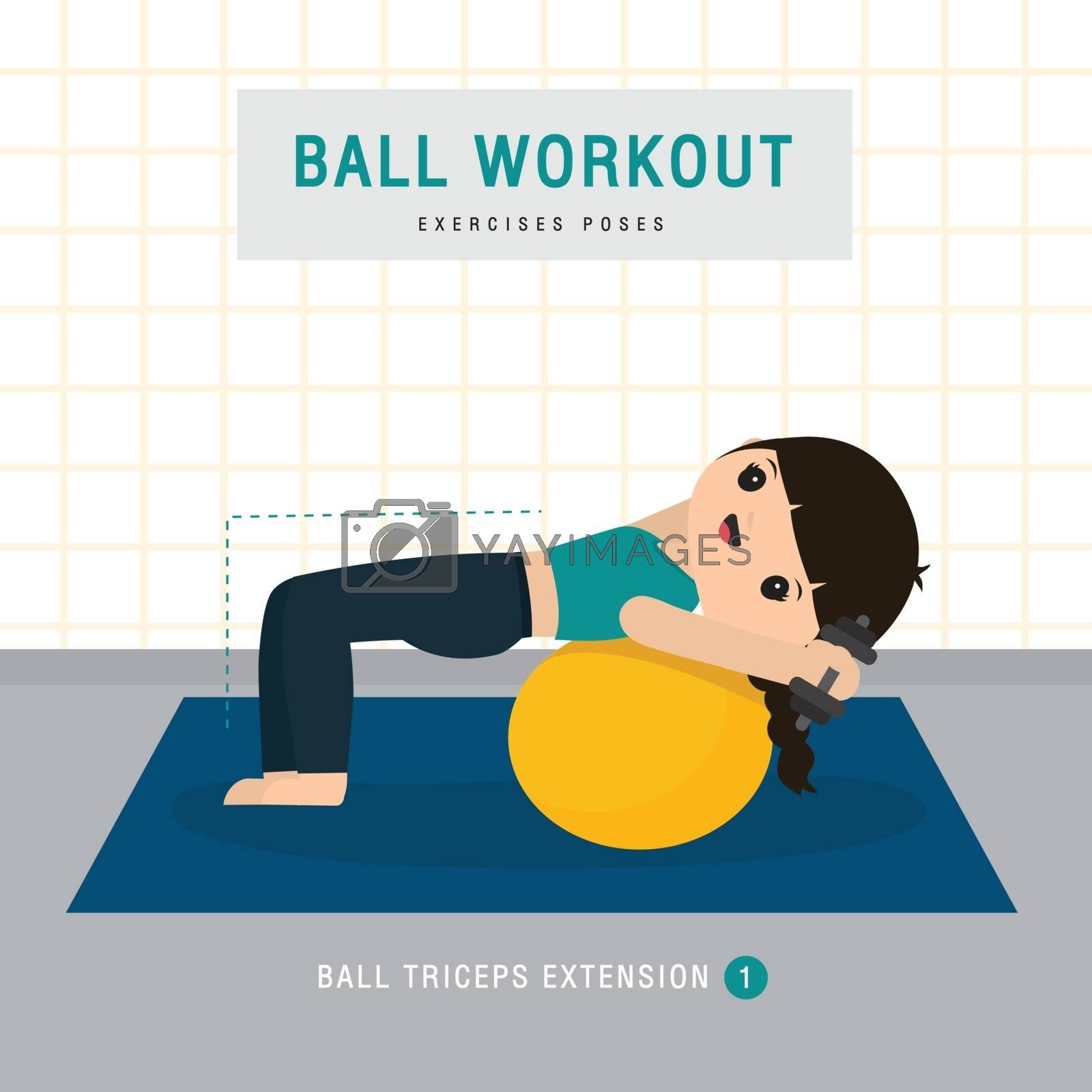 Ball Workout. Woman doing Stability ball exercise and yoga training at gym home, stay at home concept. Character Cartoon Vector illustration