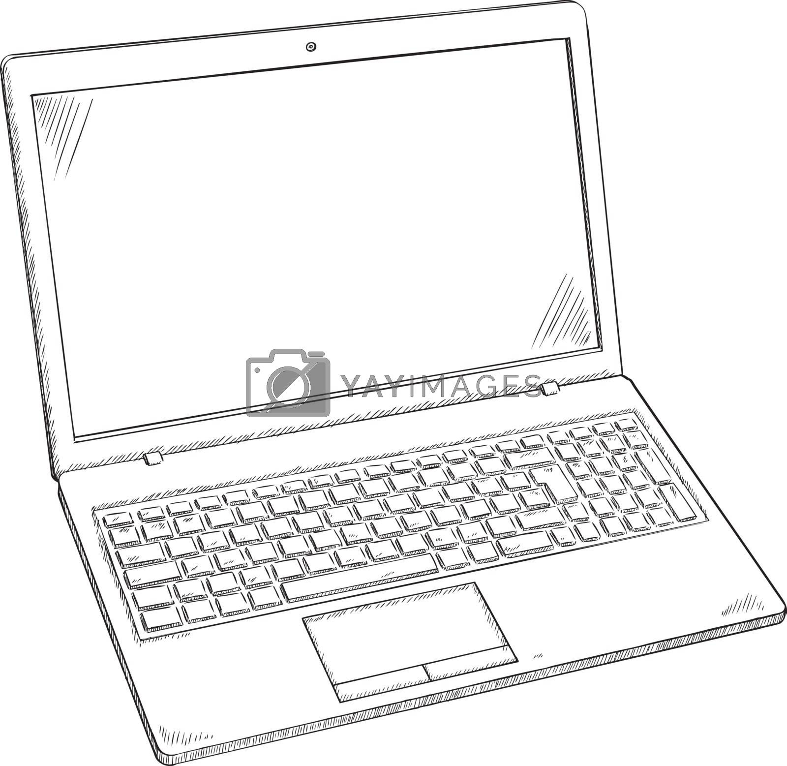 Royalty free image of llustration of Laptop PC - sketch style doodle. by Galeartstudio
