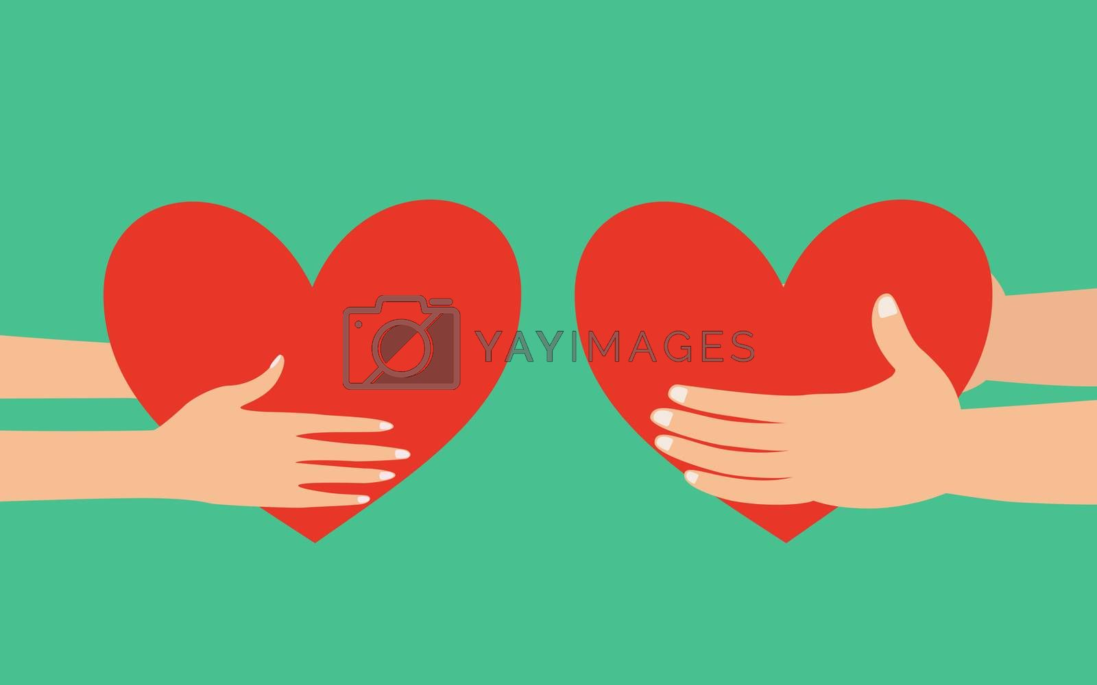 Male and female hands giving heart by Saeteaw