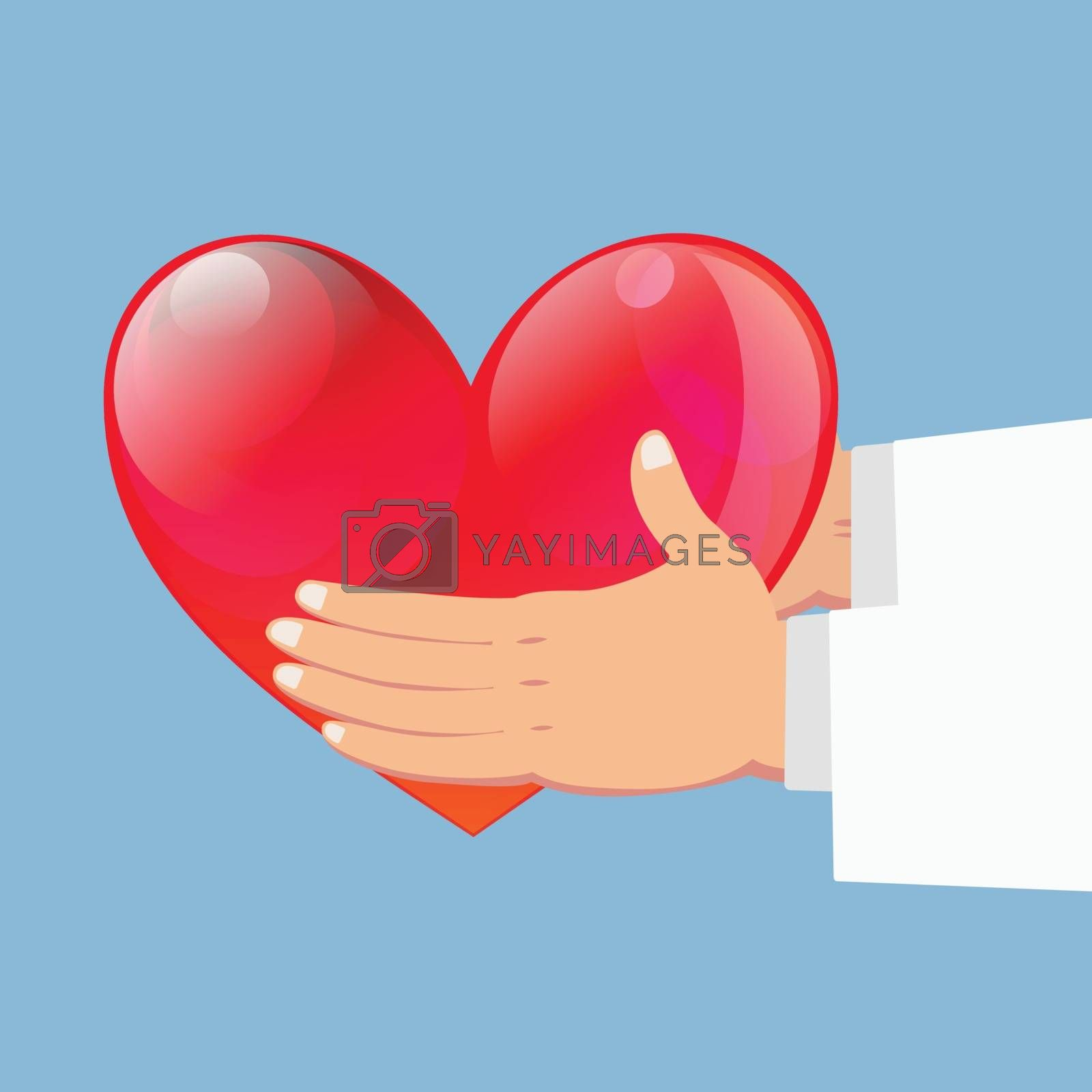 Close up of Hands of Doctor holding red heart on blue background