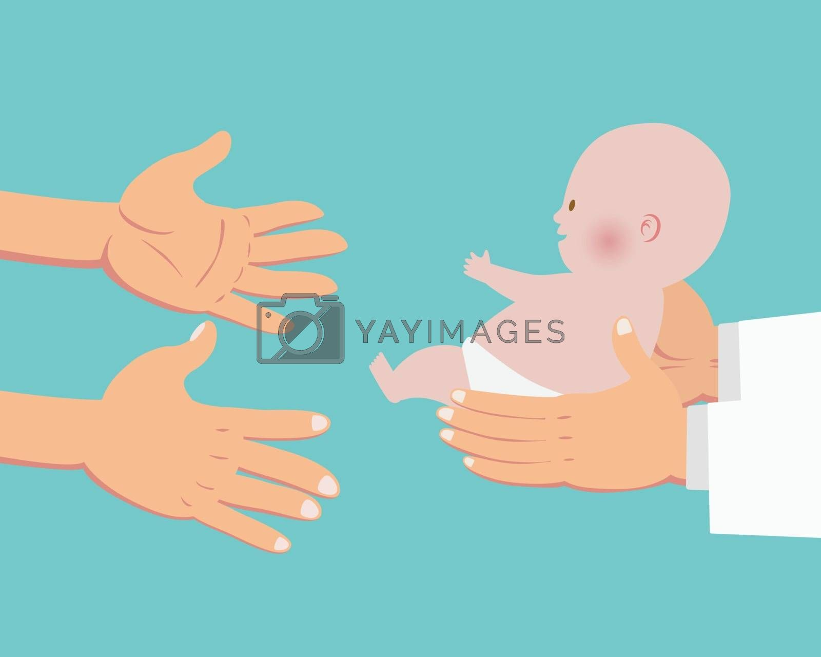 Hands of doctor giving a baby to parents hands isolated on cyan background