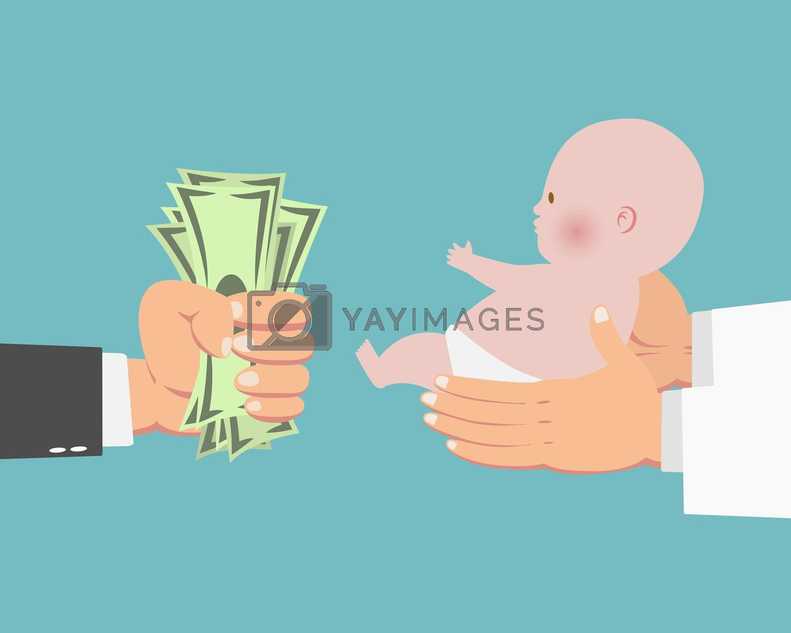 Hand of businessman with money and a baby in doctor's hands