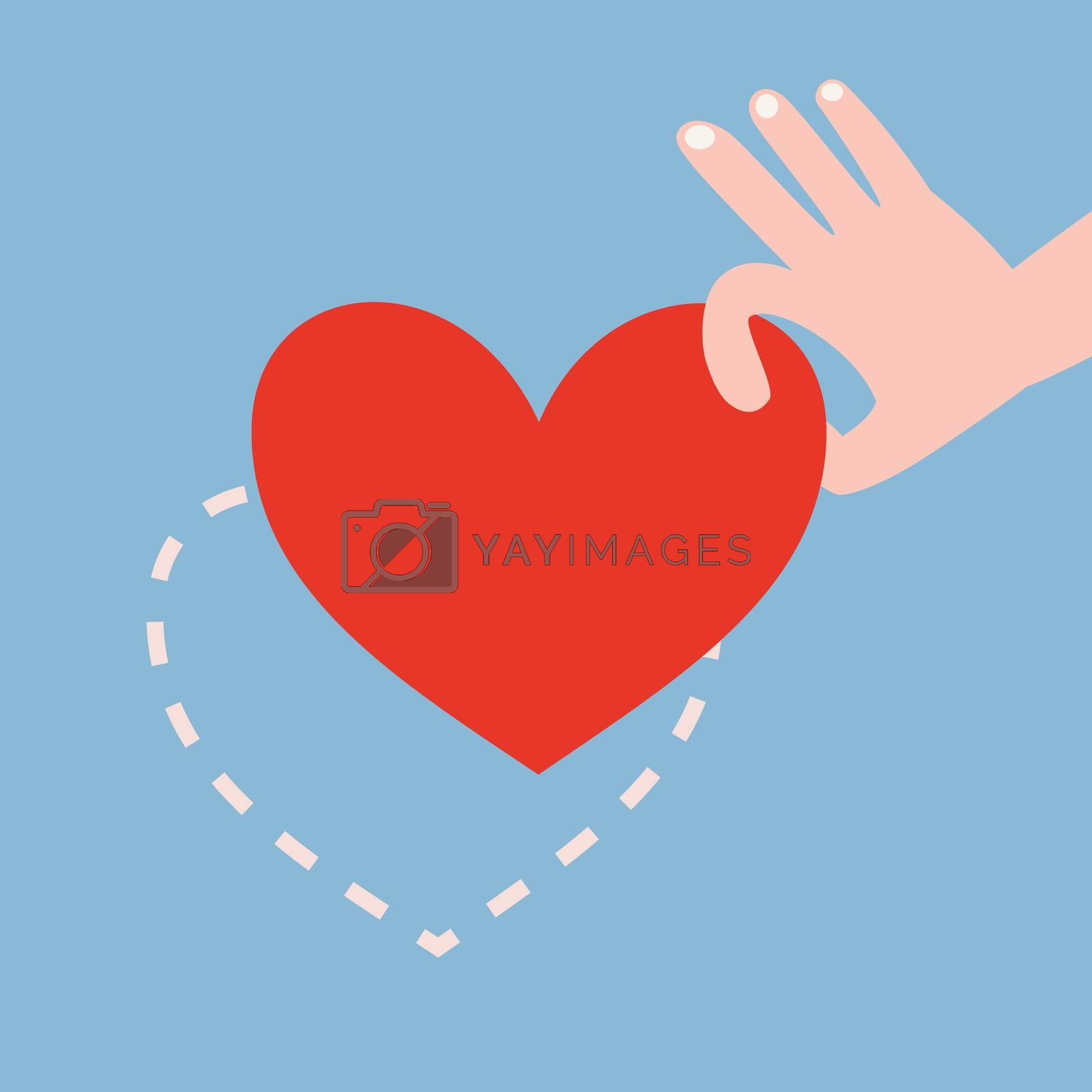 Hand picking up red heart on blue background with heart shape dash line