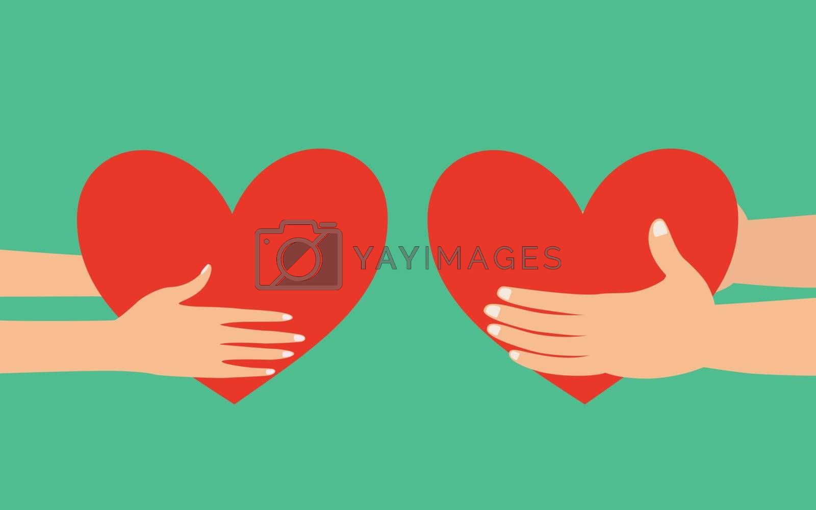 Male and female hands holding red heart giving to each other